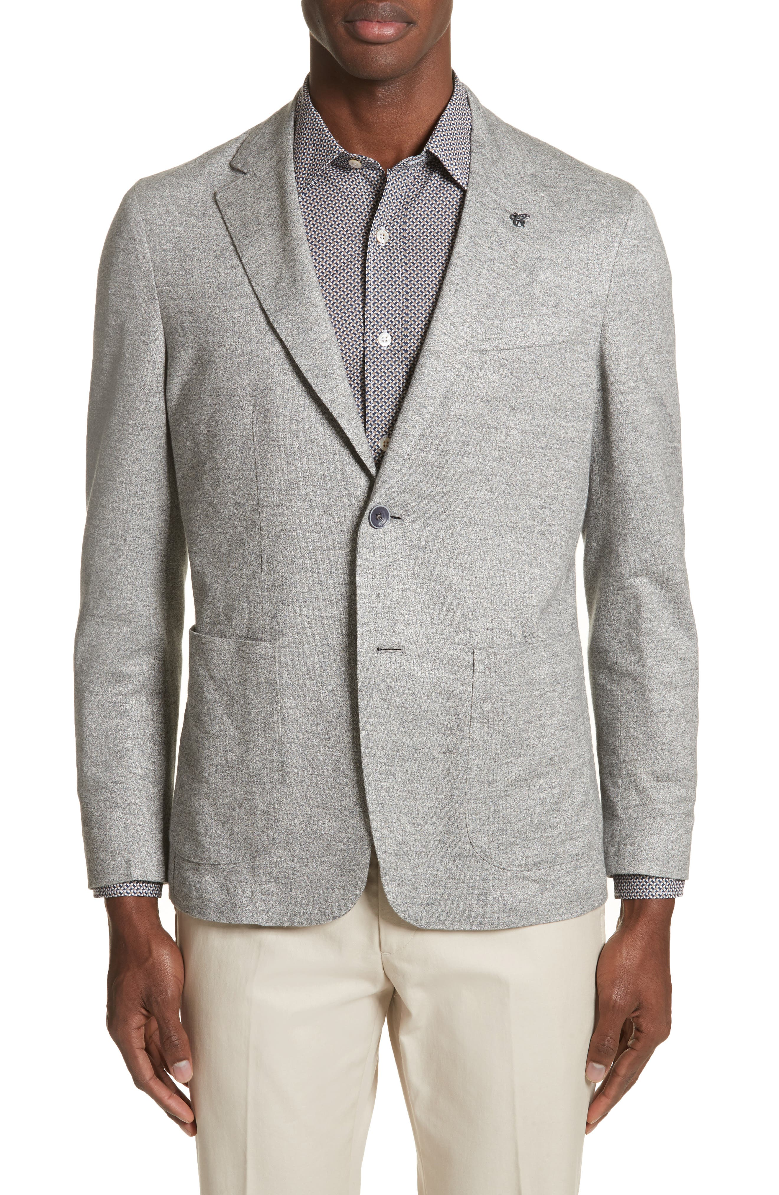 Trim Fit Washed Jersey Jacket,                             Main thumbnail 1, color,                             Light Grey