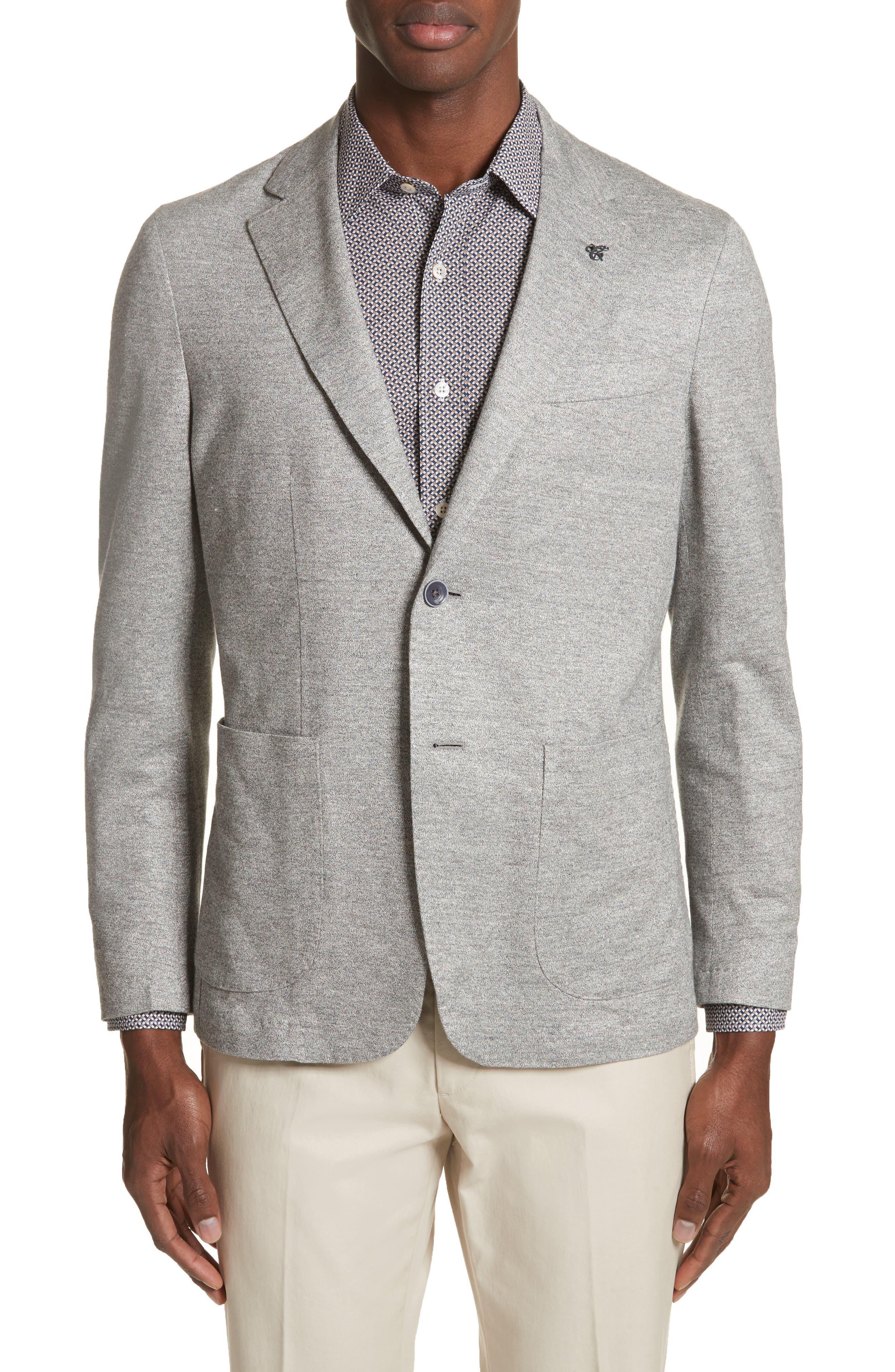 Trim Fit Washed Jersey Jacket,                         Main,                         color, Light Grey