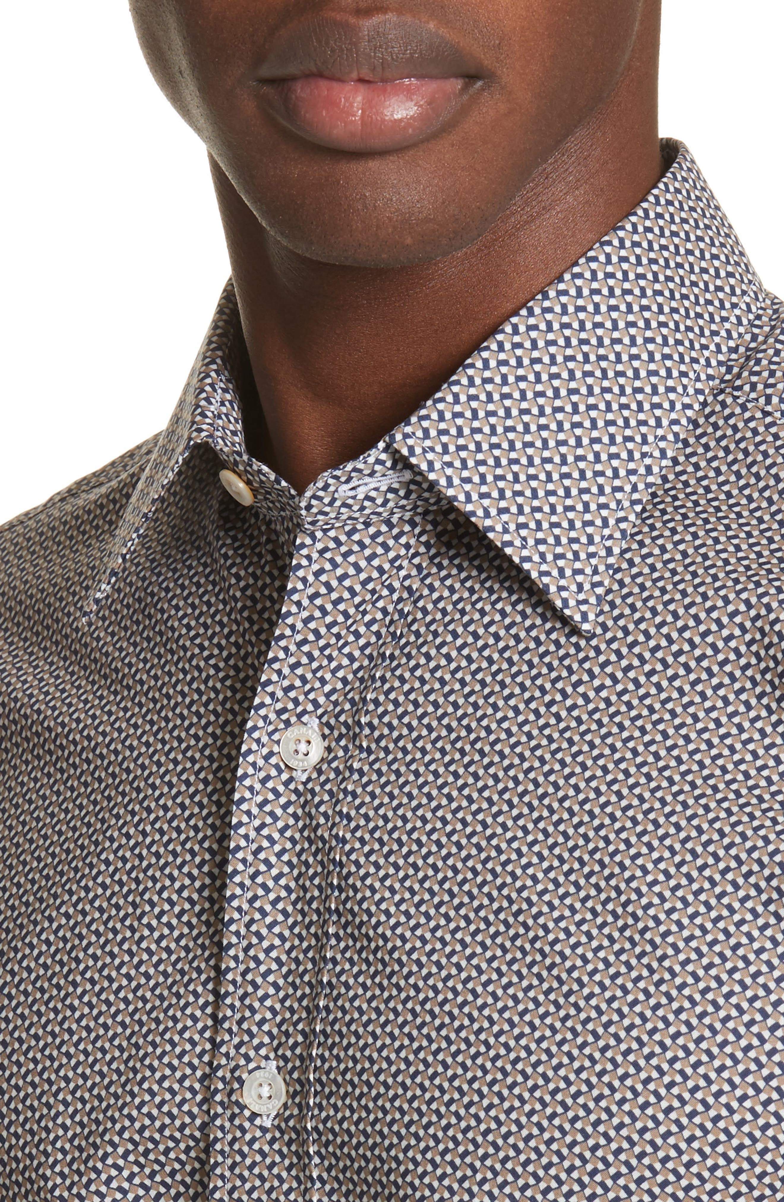 Regular Fit Print Sport Shirt,                             Alternate thumbnail 2, color,                             Dark Beige
