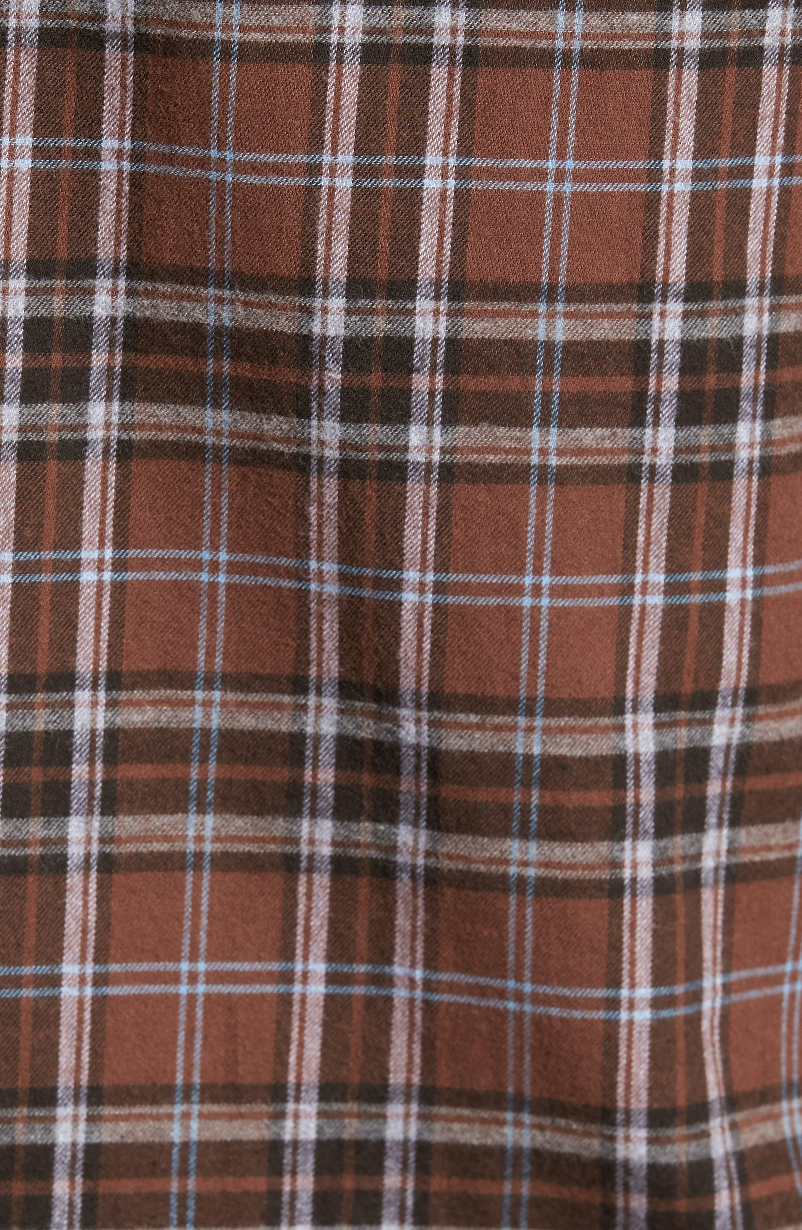 Regular Fit Plaid Sport Shirt,                             Alternate thumbnail 5, color,                             Dark Henna
