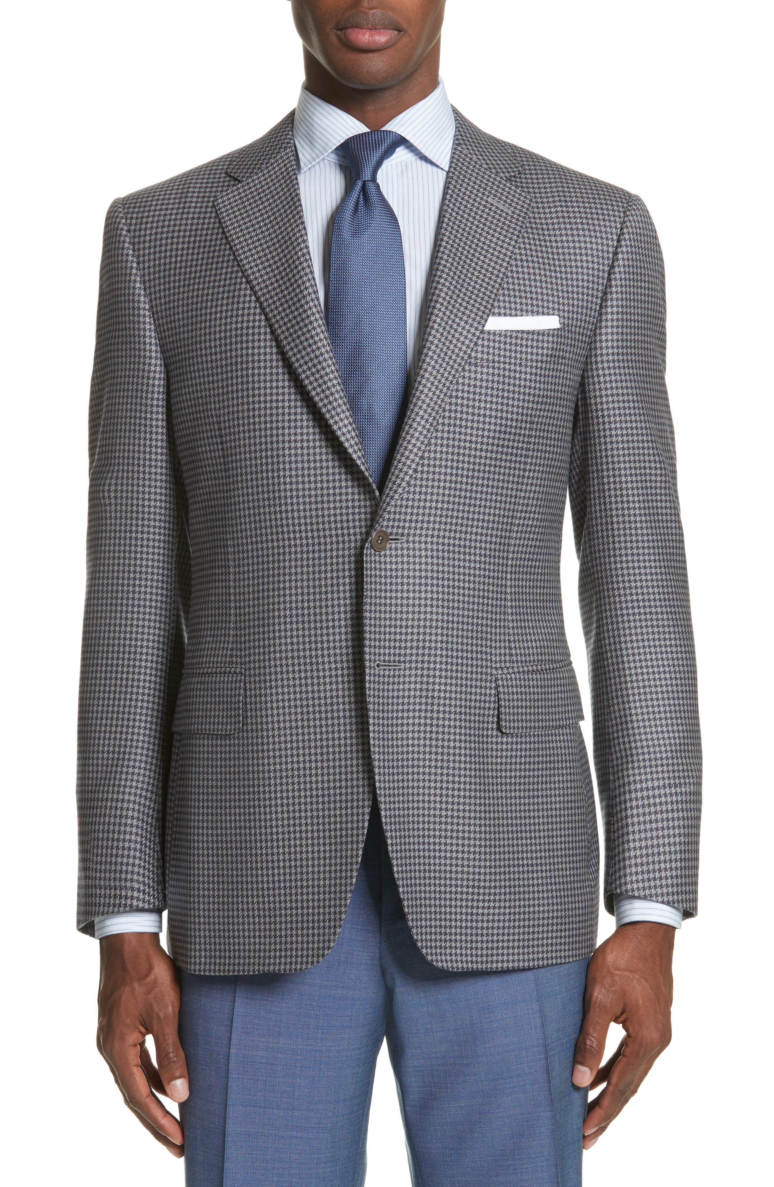 Canali Classic Fit Houndstooth Wool Sport Coat