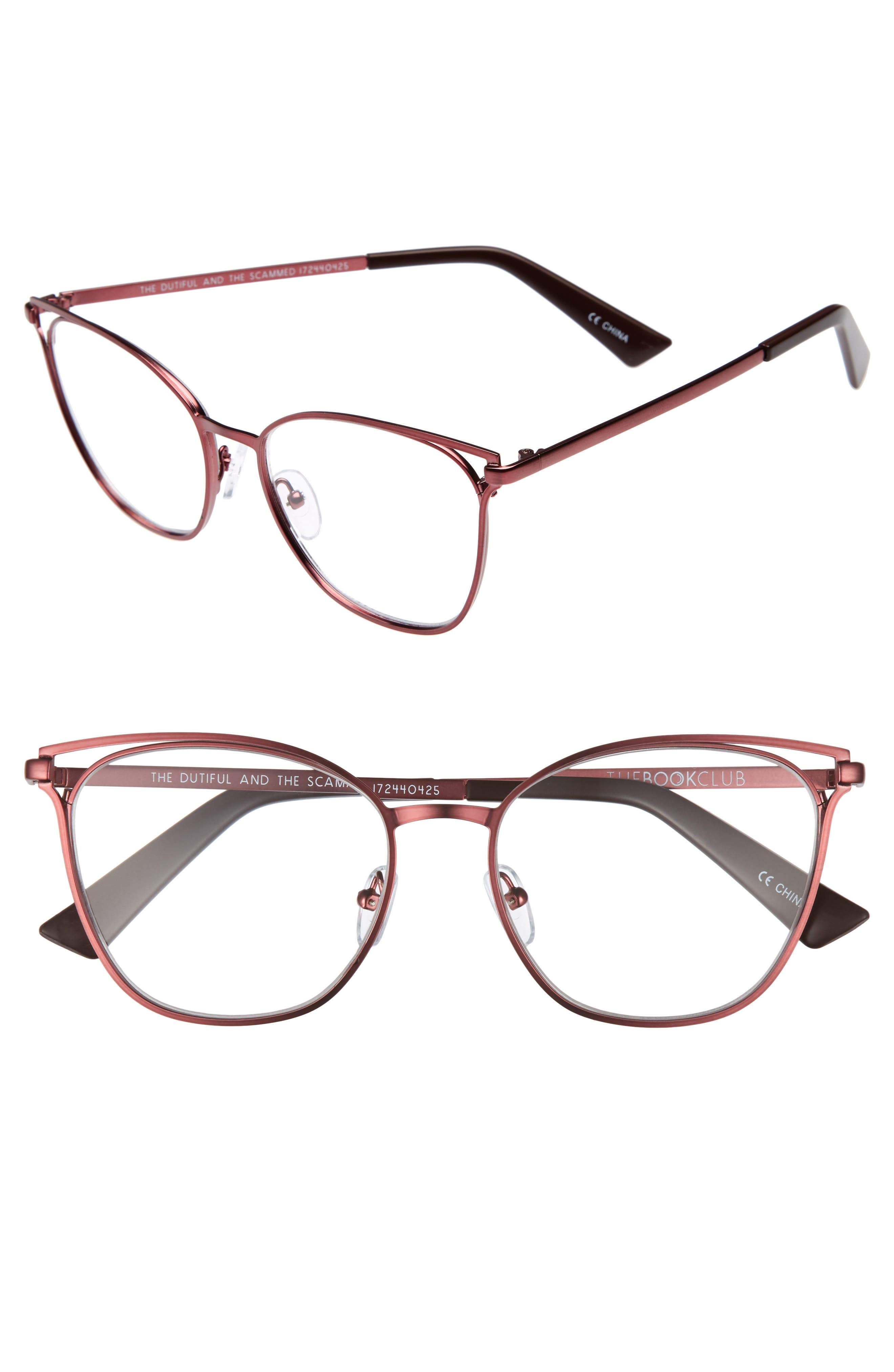 The Dutiful And The Scammed 53mm Reading Glasses,                         Main,                         color, Wine