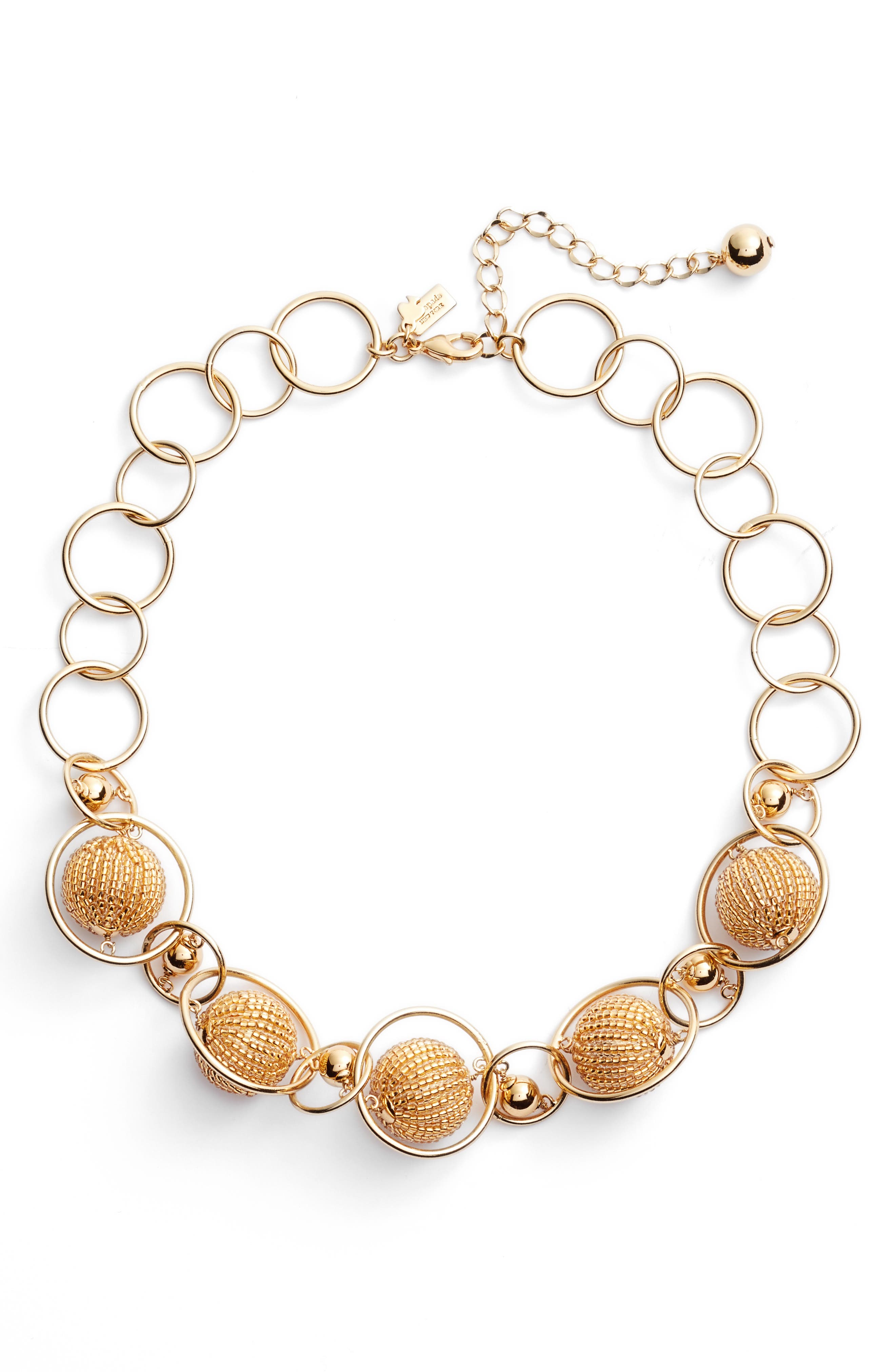 beads and baubles choker,                         Main,                         color, Gold