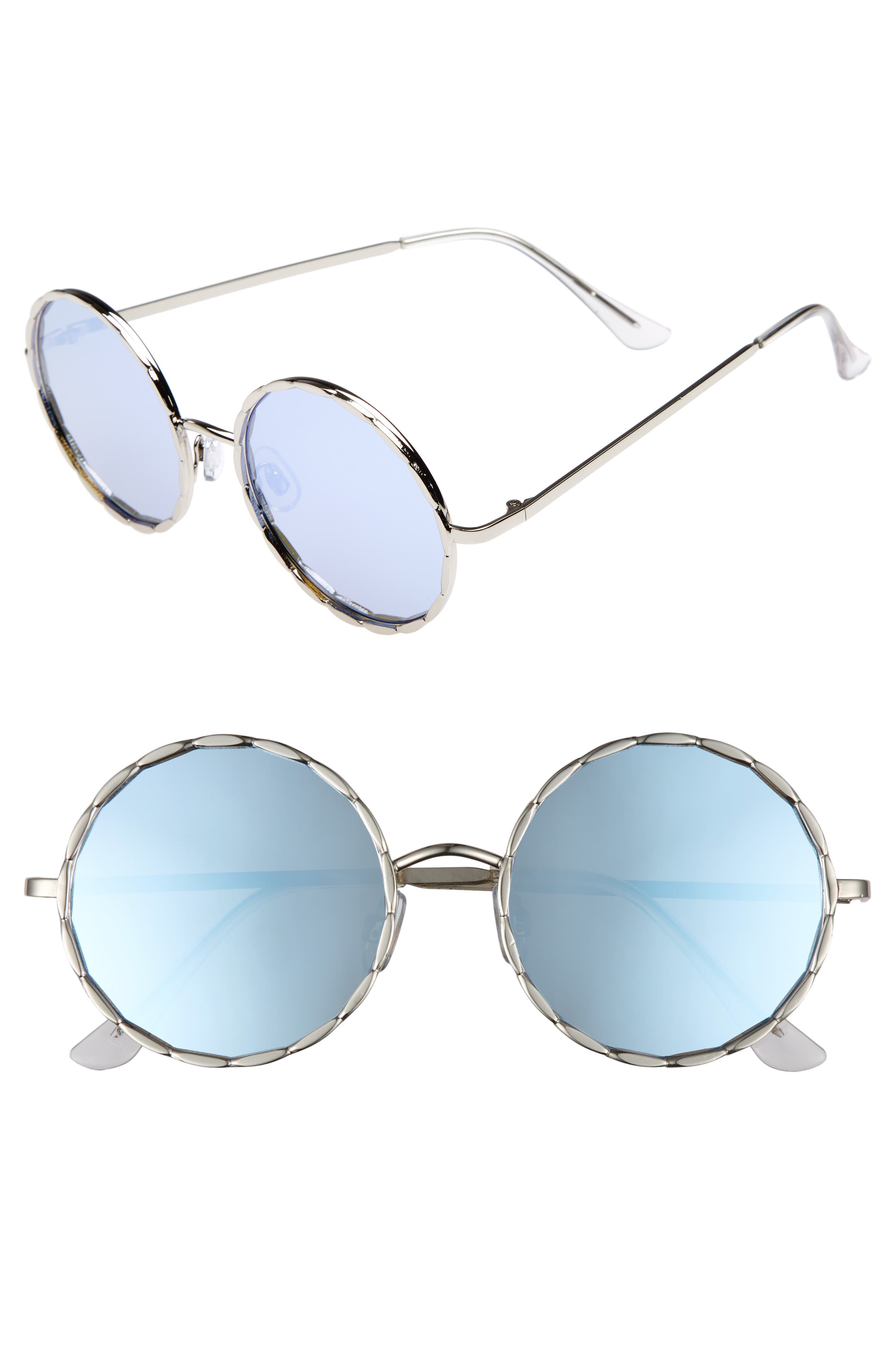 58mm Textured Round Sunglasses,                             Main thumbnail 1, color,                             Silver/ Blue