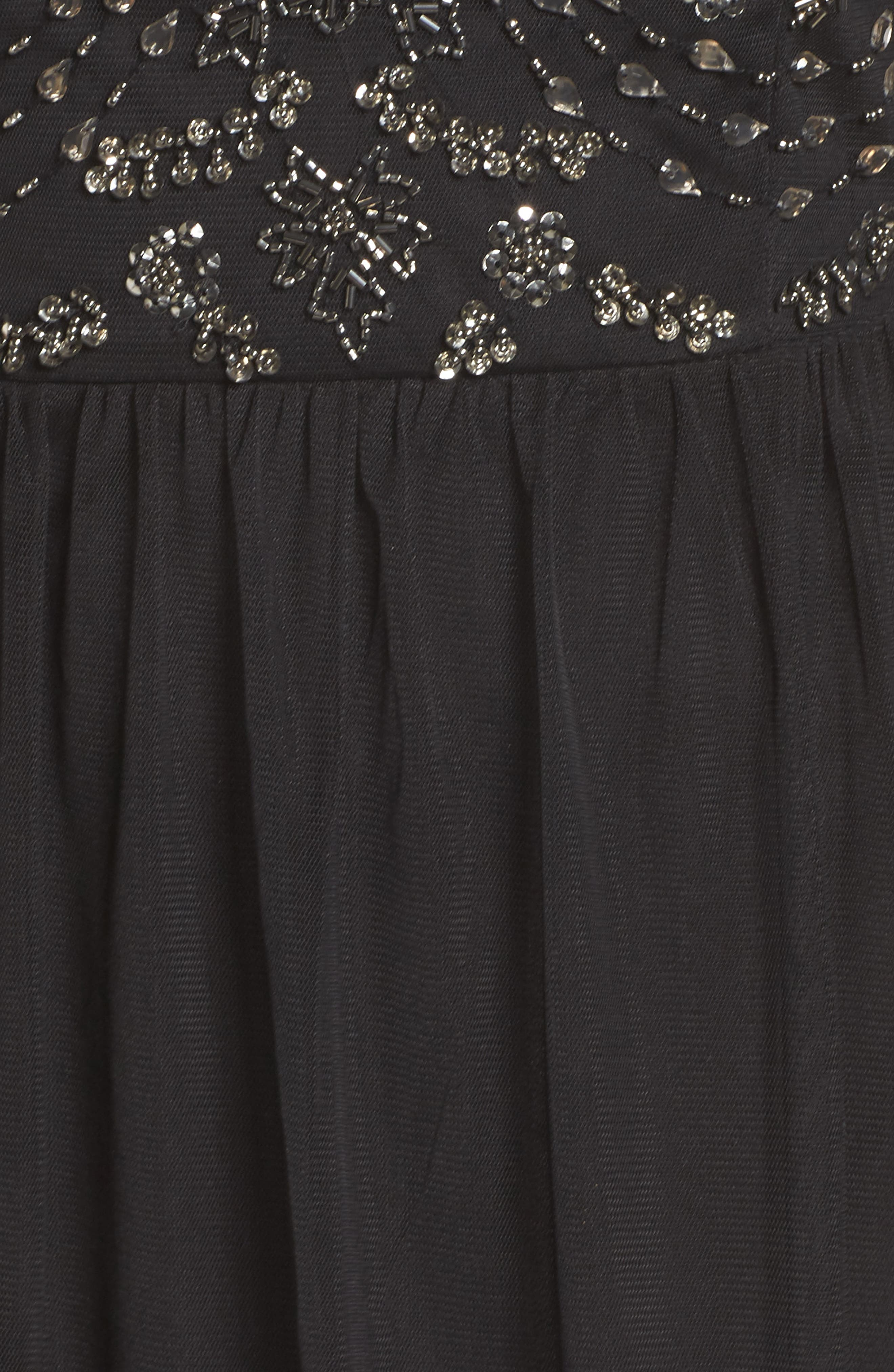 Beaded Bodice Tulle Gown,                             Alternate thumbnail 5, color,                             Black