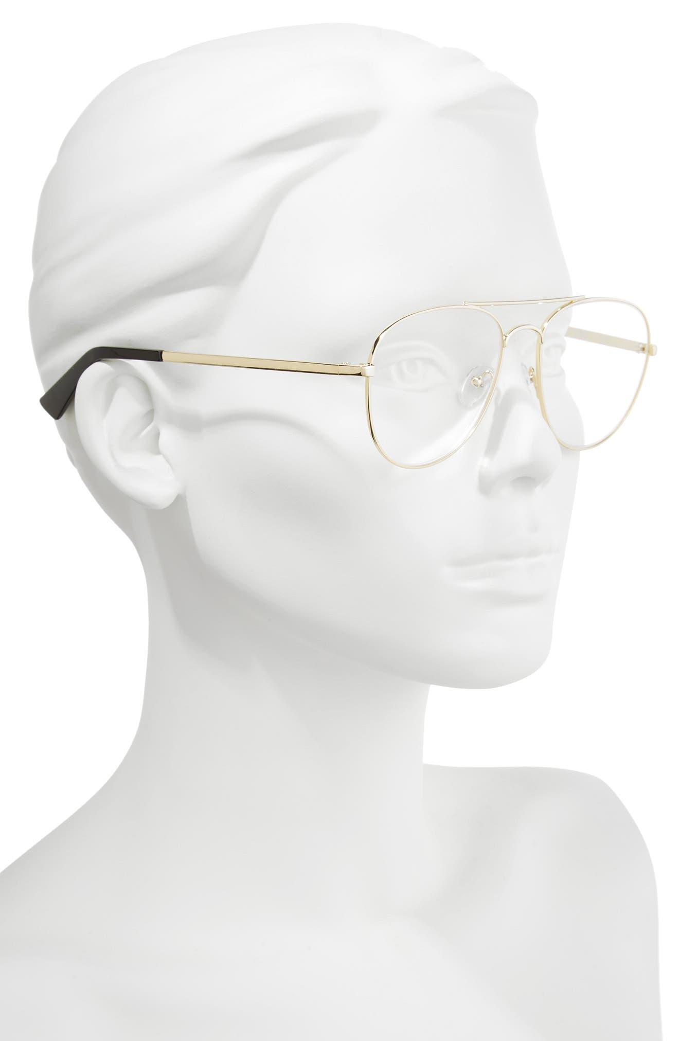 Hard Crimes 55mm Aviator Reading Glasses,                             Alternate thumbnail 2, color,                             Gold/ Black Marker