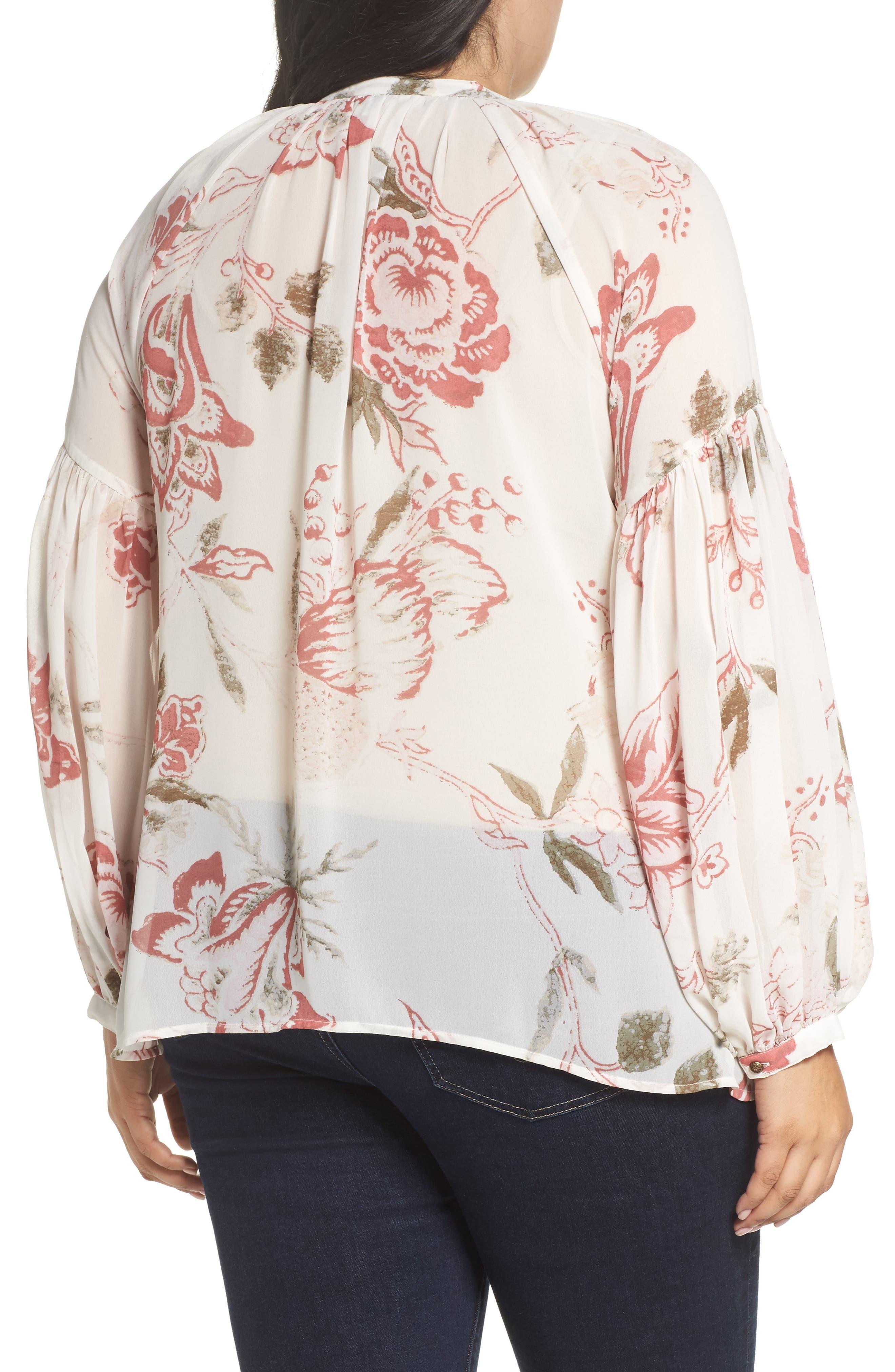 Alternate Image 2  - Lucky Brand Jenna Print Peasant Top (Plus Size)