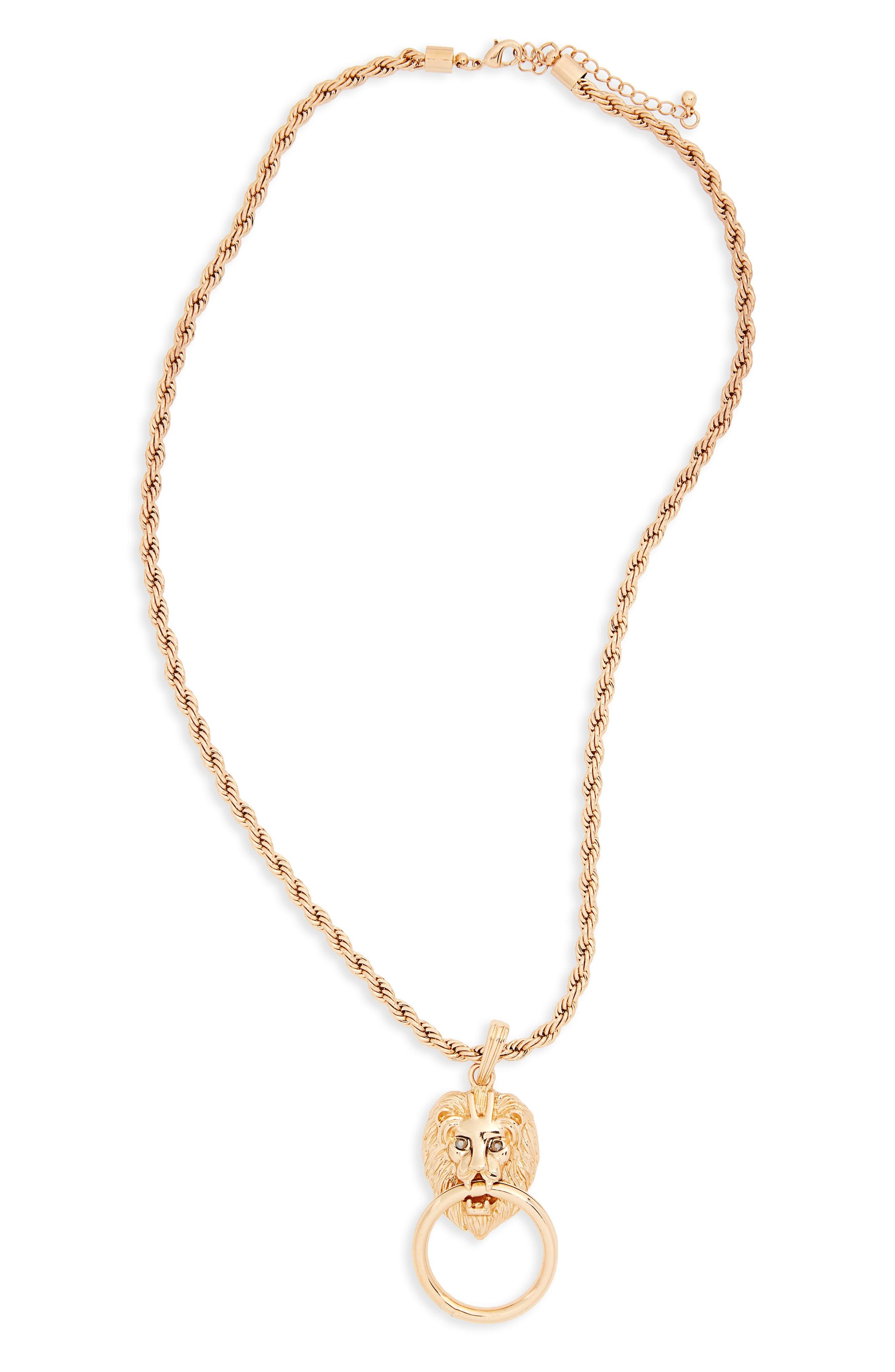 Lion Pendant Necklace,                             Main thumbnail 1, color,                             Gold
