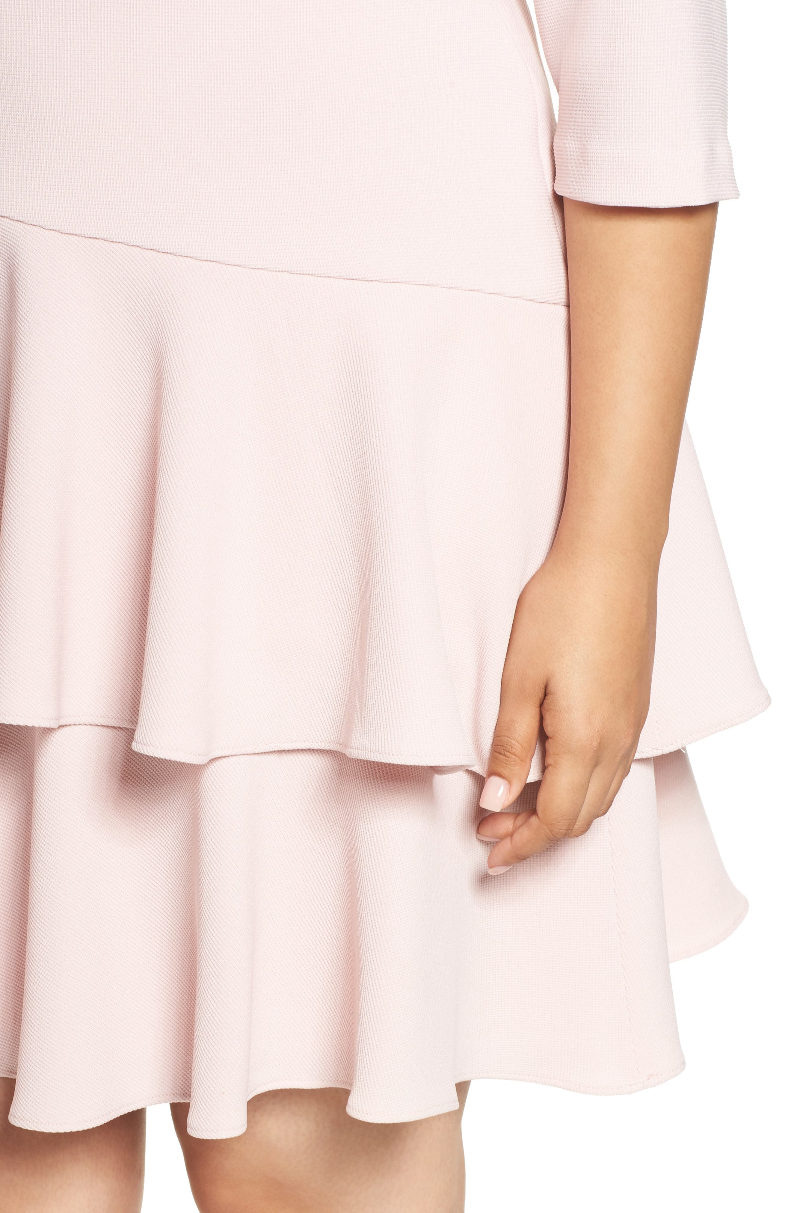 Tiered Ruffle A-Line Dress,                             Alternate thumbnail 4, color,                             Blush
