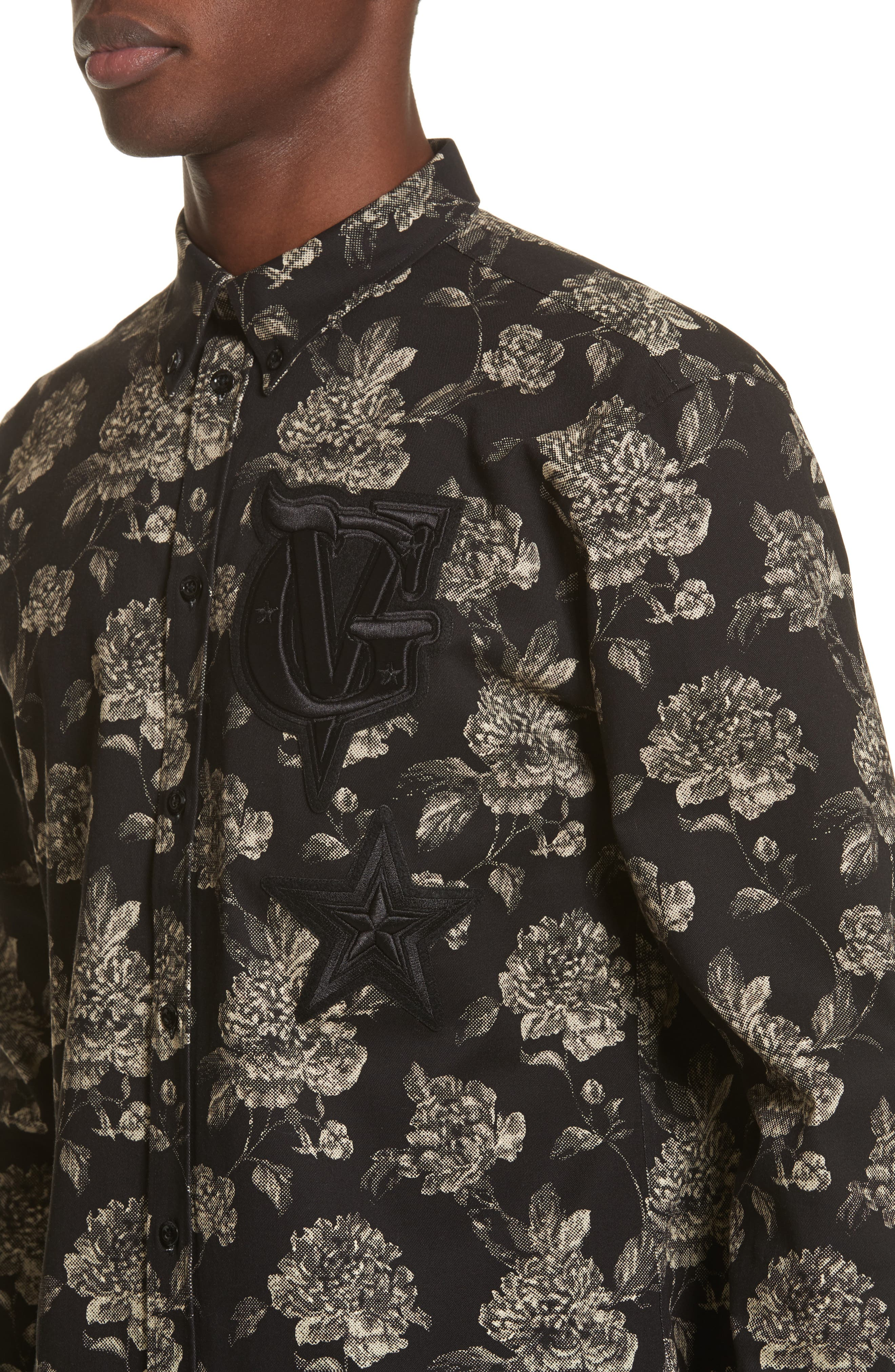 Floral Print Shirt,                             Alternate thumbnail 2, color,                             Black