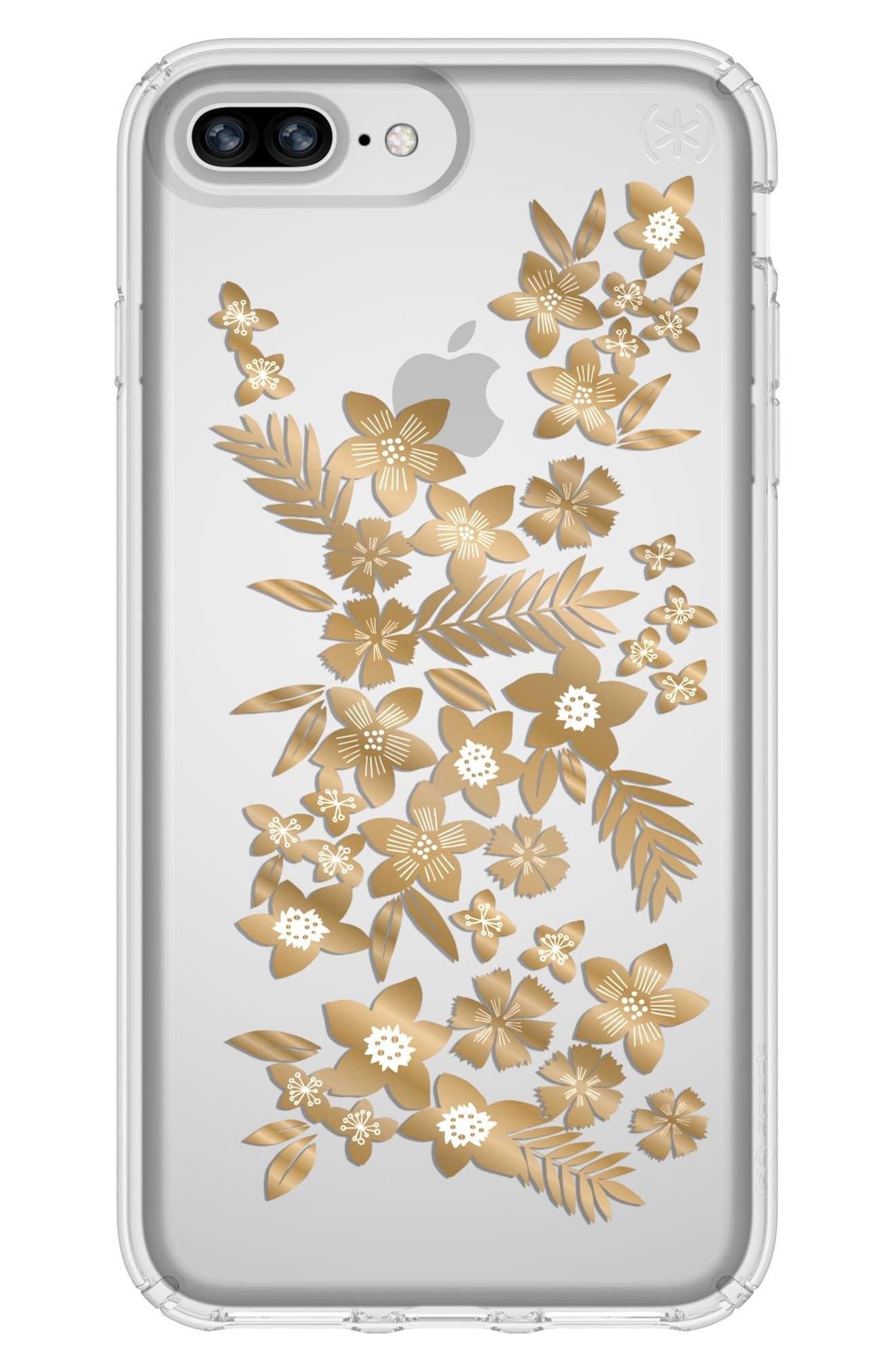Floral iPhone 6 Plus/6s Plus/7 Plus/8 Plus Case,                             Main thumbnail 1, color,                             Shimmer Floral Metallic/ Clear