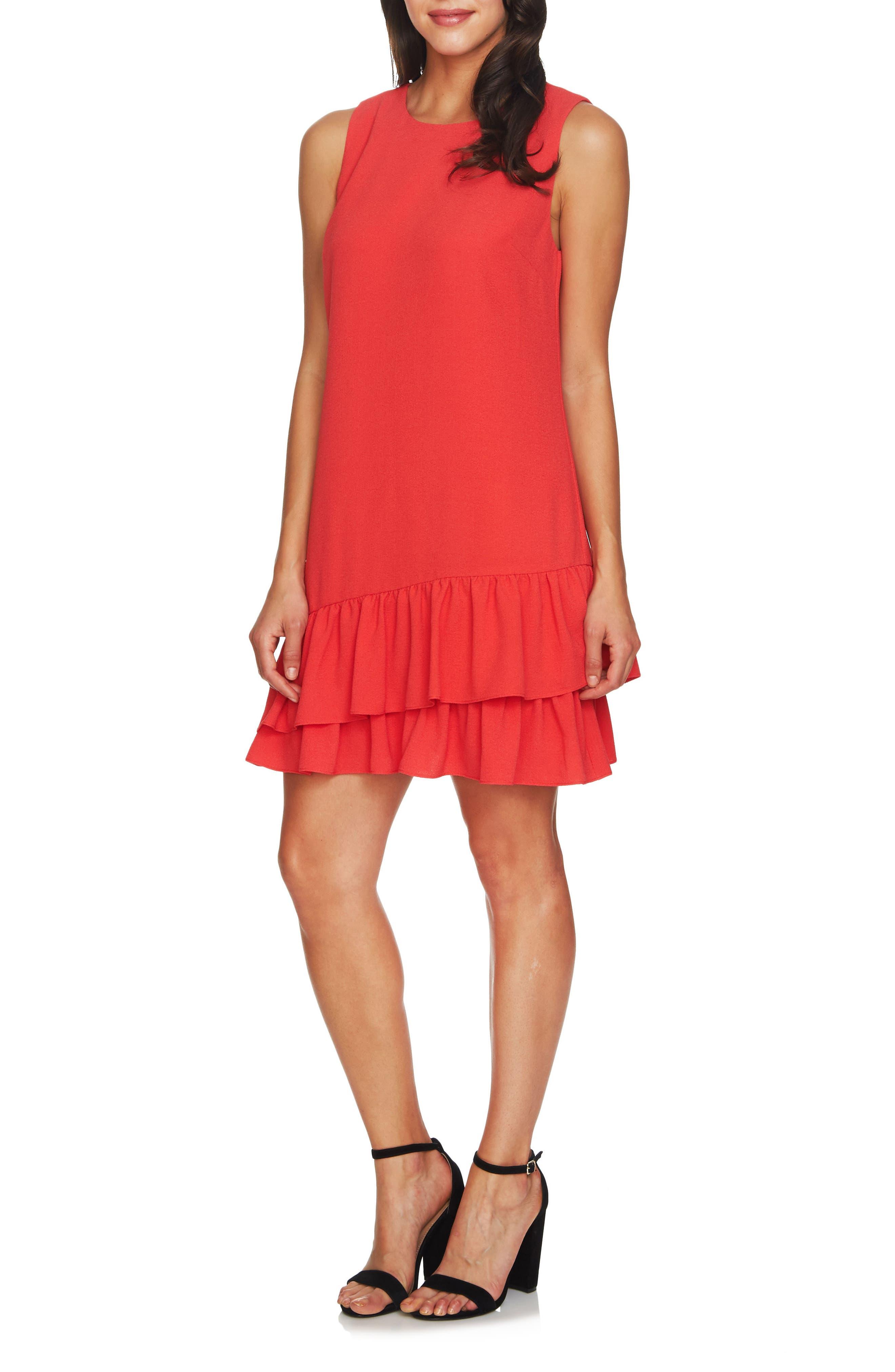 Main Image - CeCe Macara Ruffle Hem Shift Dress