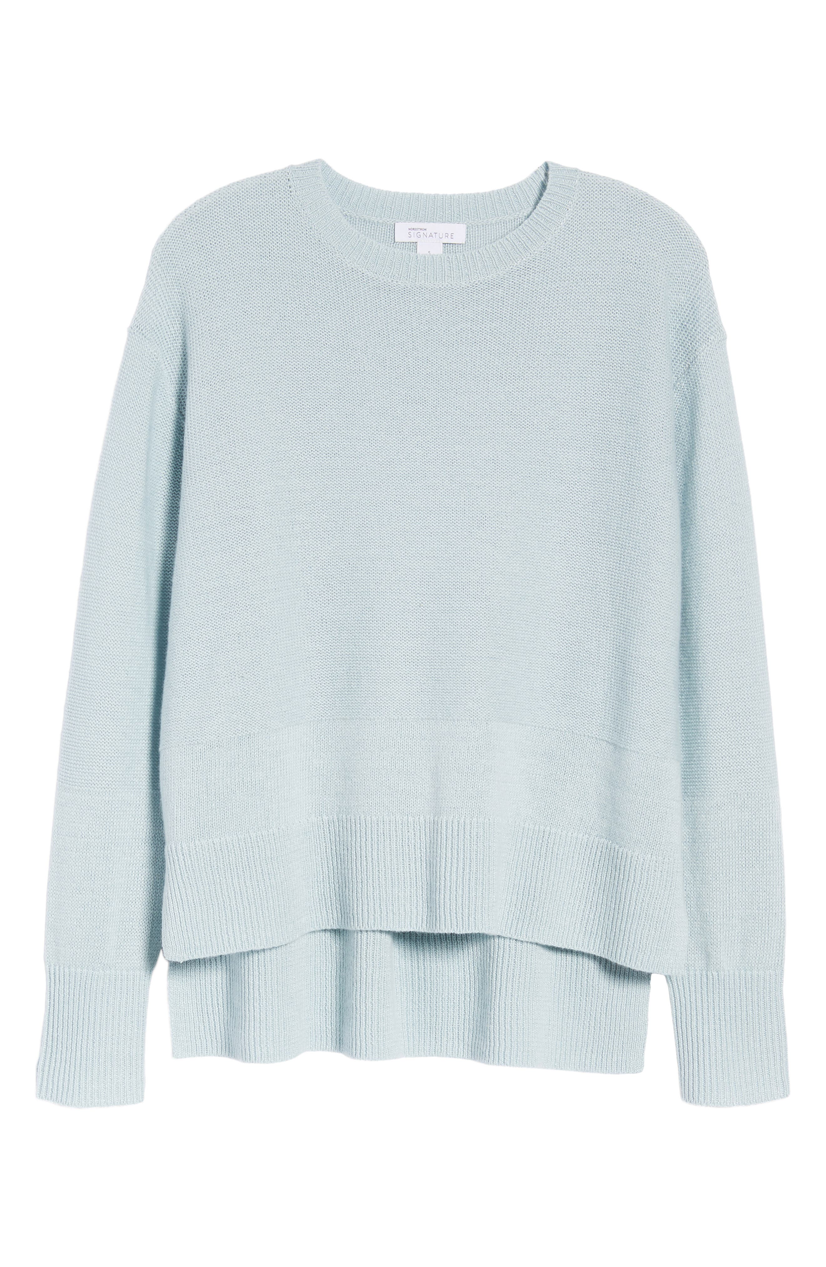 Linen & Cashmere Sweater,                             Alternate thumbnail 6, color,                             Teal Steam