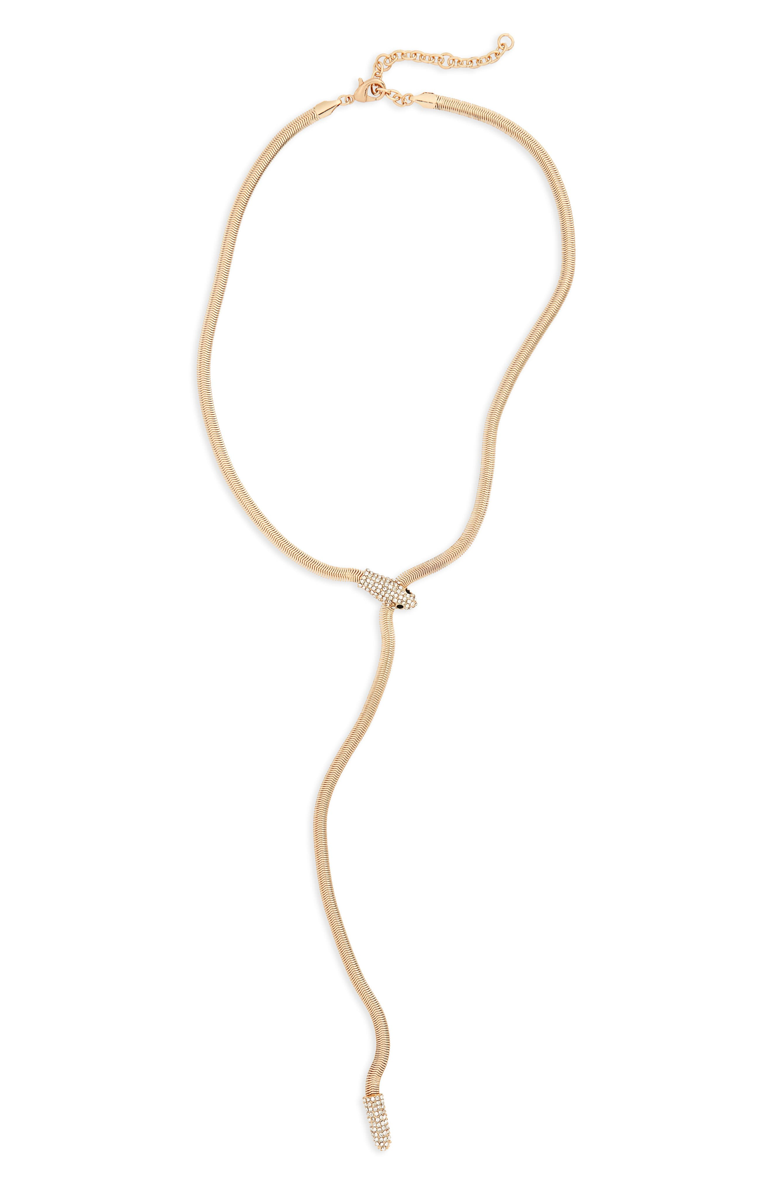 Snake Chain Y-Necklace,                         Main,                         color, Gold/ Crystal