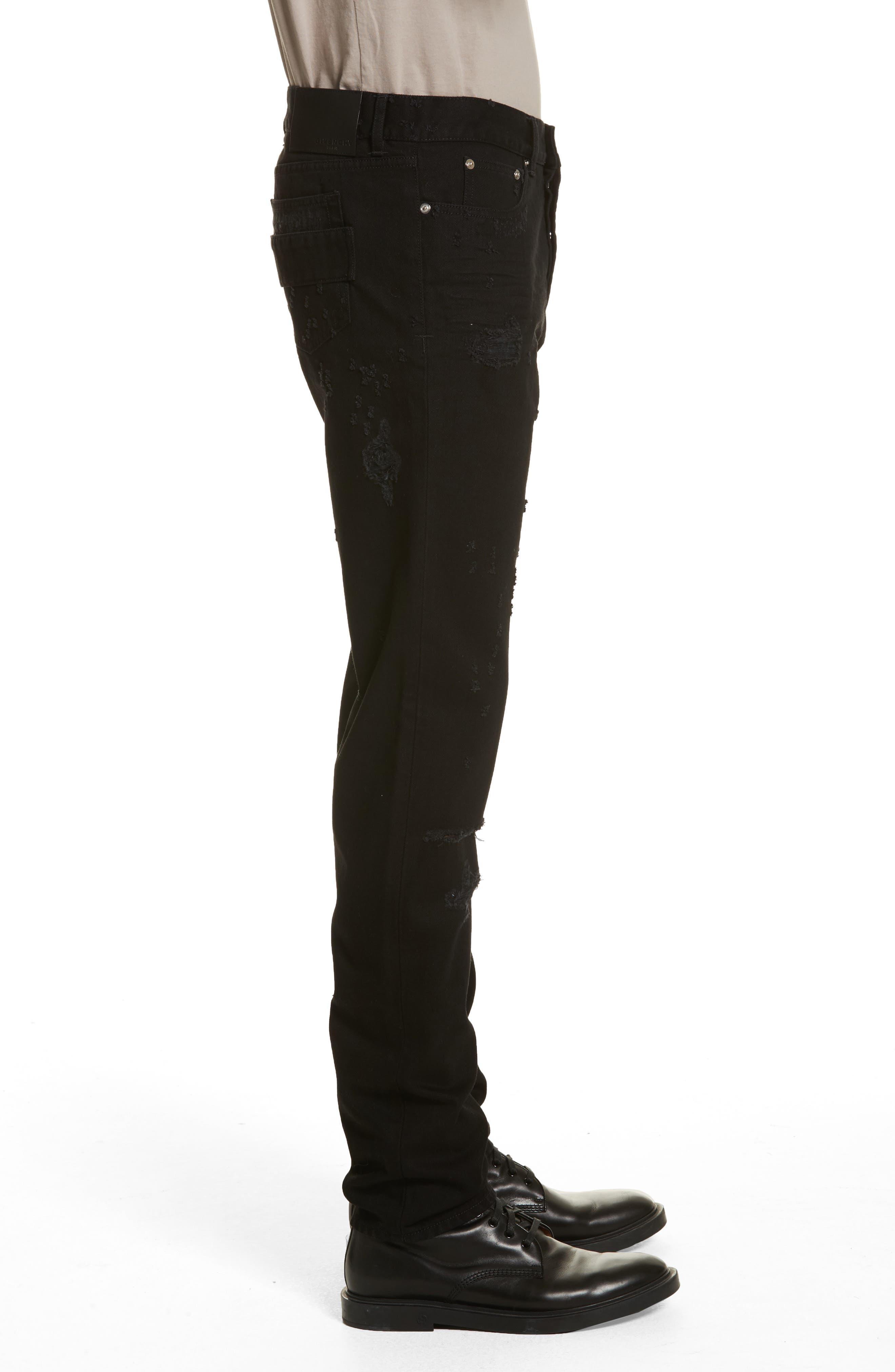 Destroyed Slim Fit Jeans,                             Alternate thumbnail 3, color,                             Black