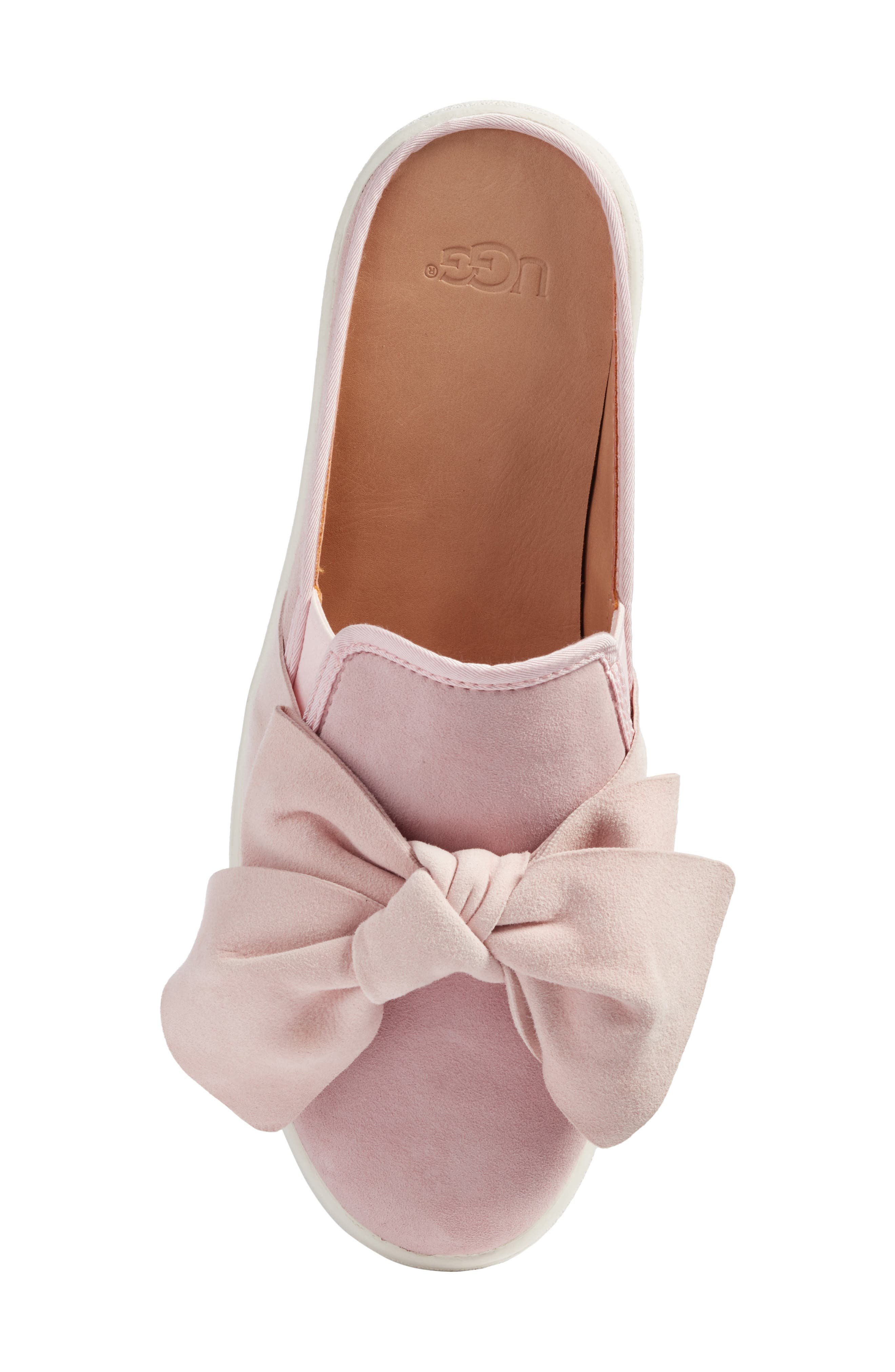 Luci Bow Sneaker Mule,                             Alternate thumbnail 5, color,                             Seashell Pink Suede
