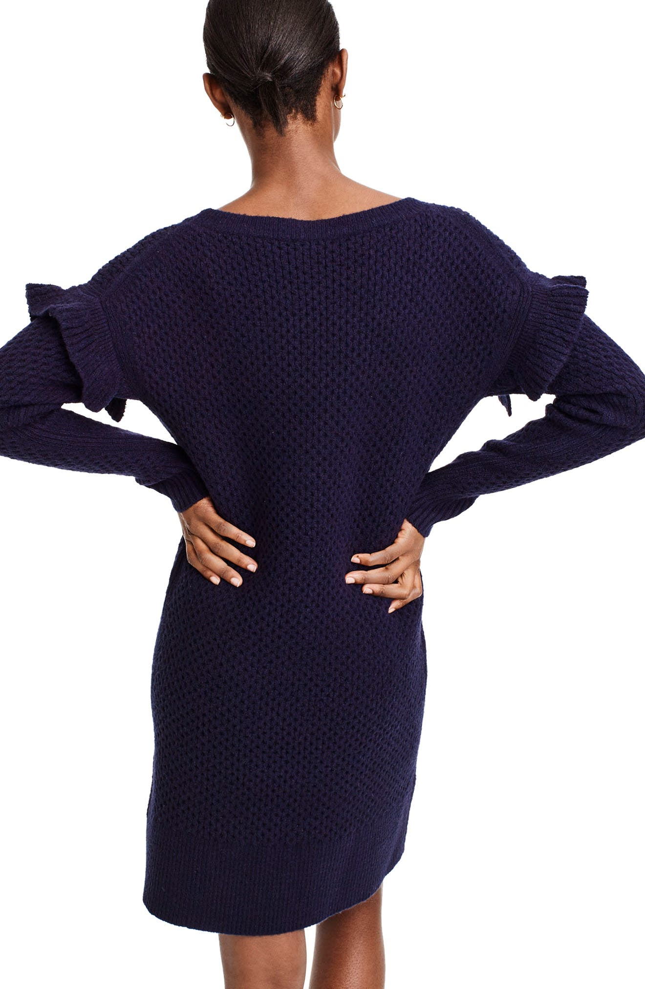 Holden Ruffle Sleeve Cable Knit Sweater Dress,                             Alternate thumbnail 2, color,                             Navy