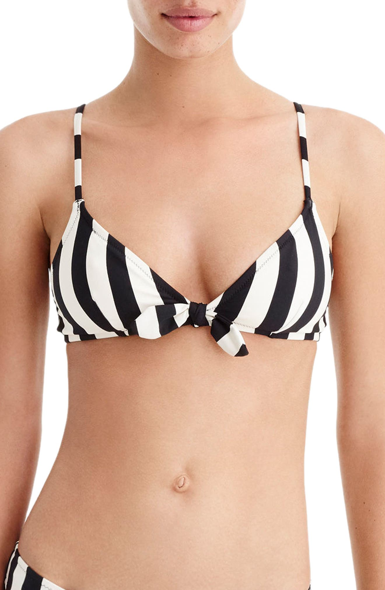J.Crew Stripe Tie Front Bikini,                         Main,                         color, Ivory Black