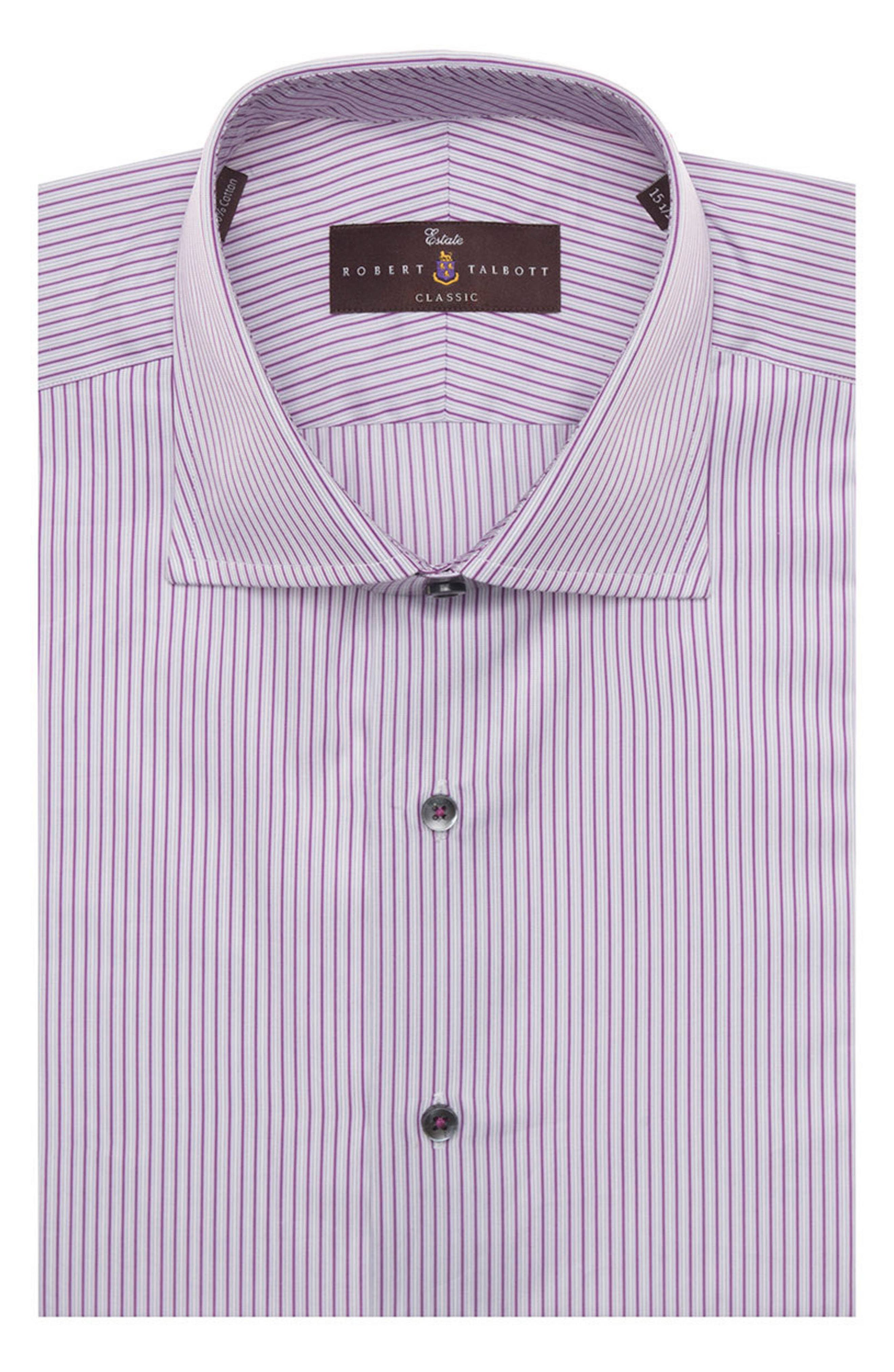 Tailored Fit Stripe Dress Shirt,                         Main,                         color, Aster