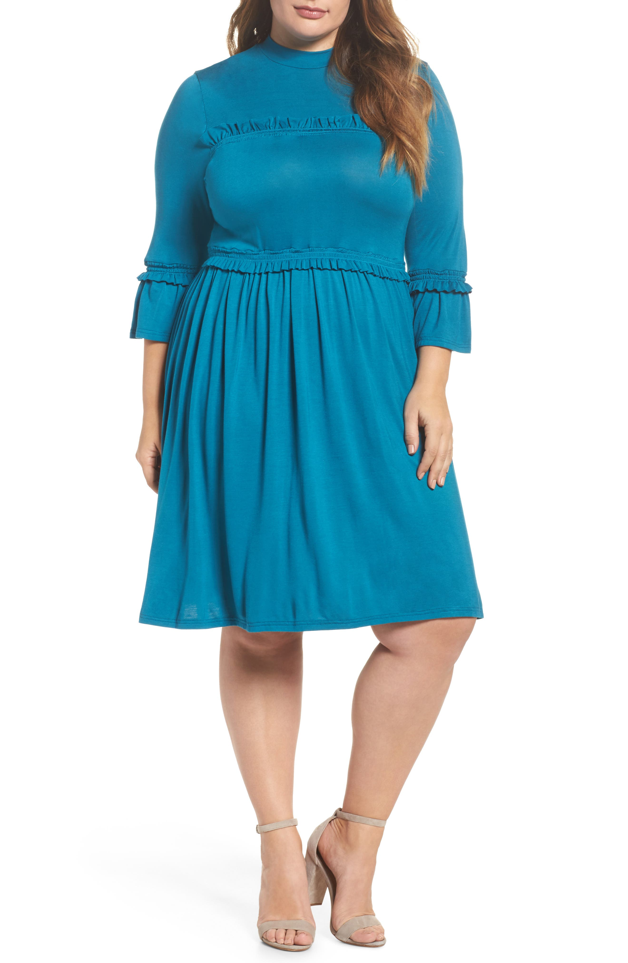 Double Frill Skater Dress,                         Main,                         color, Teal