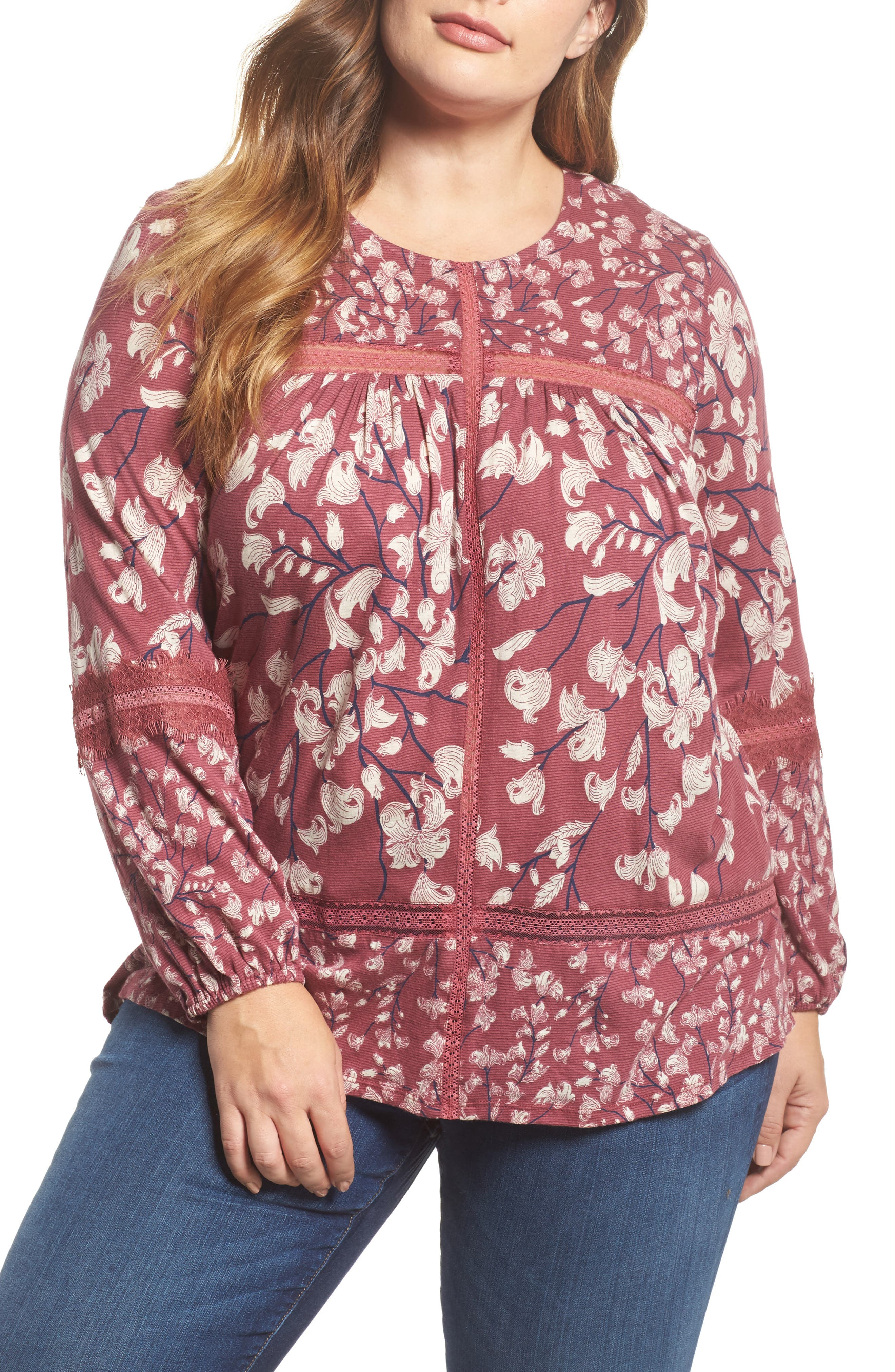 Main Image - Lucky Brand Lace Inset Print Top (Plus Size)