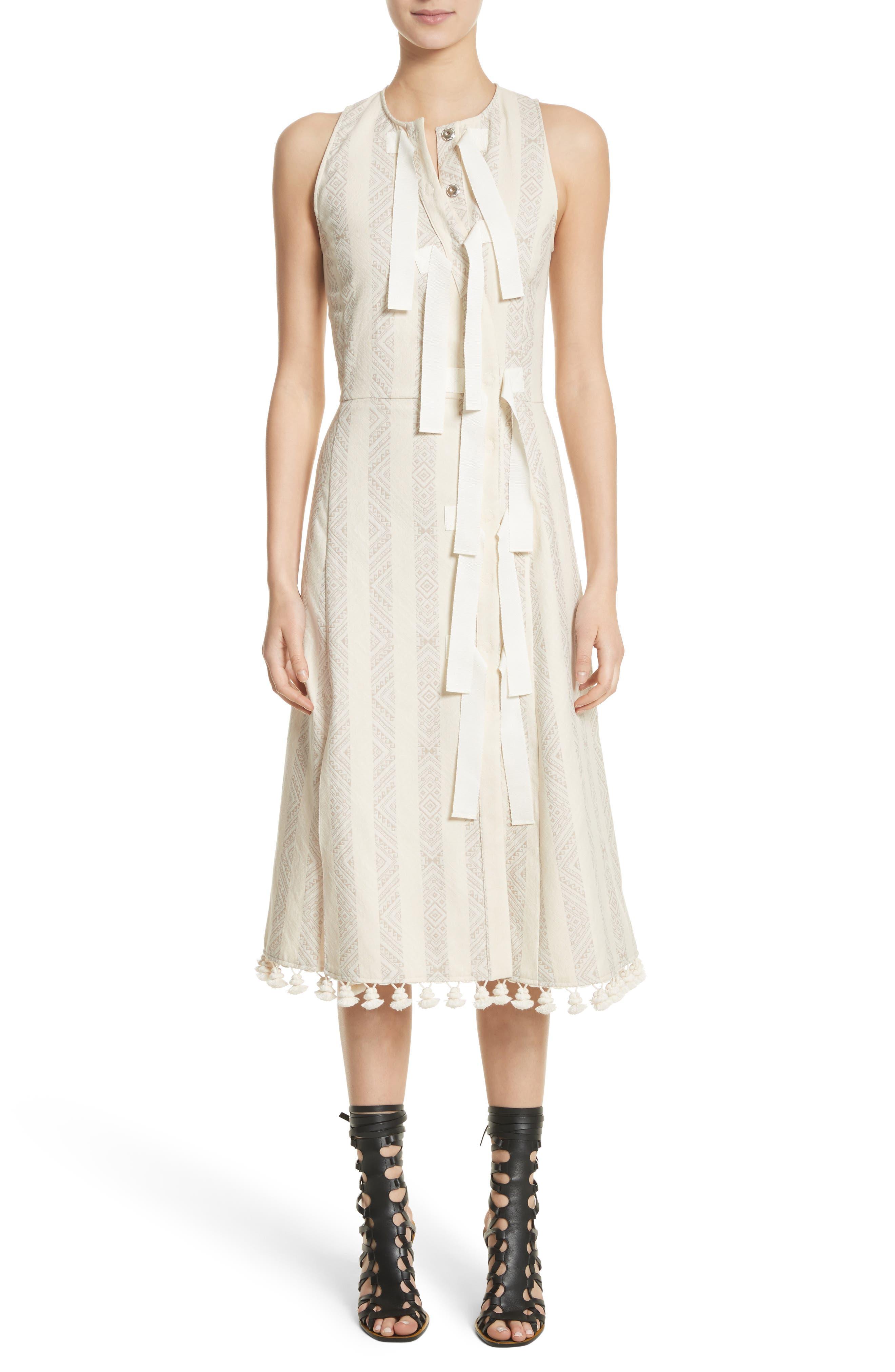 Grosgrain Tie Stripe Dress,                         Main,                         color, Parchment