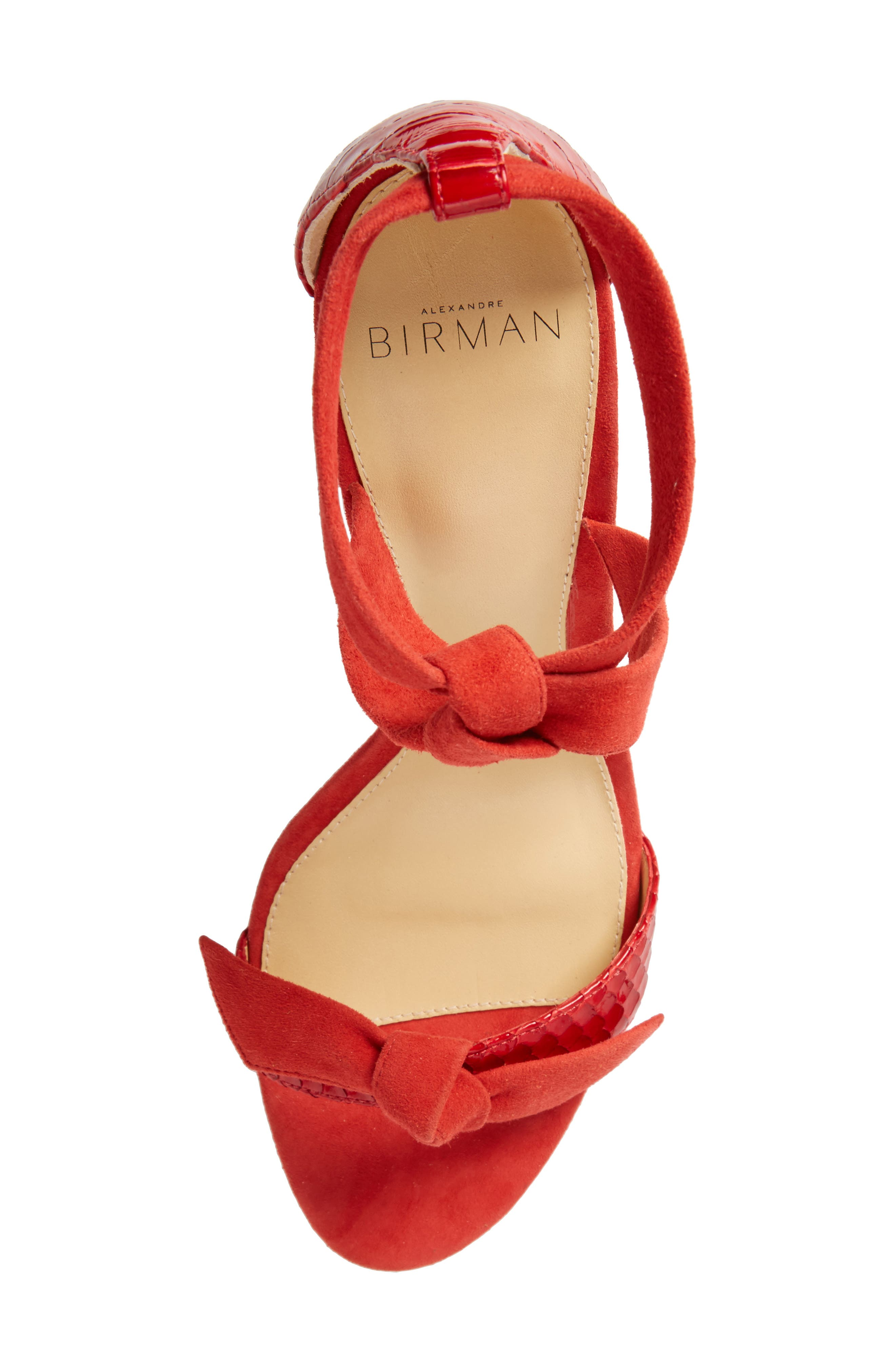 Clarita Genuine Python Ankle Tie Sandal,                             Alternate thumbnail 5, color,                             Flame Red