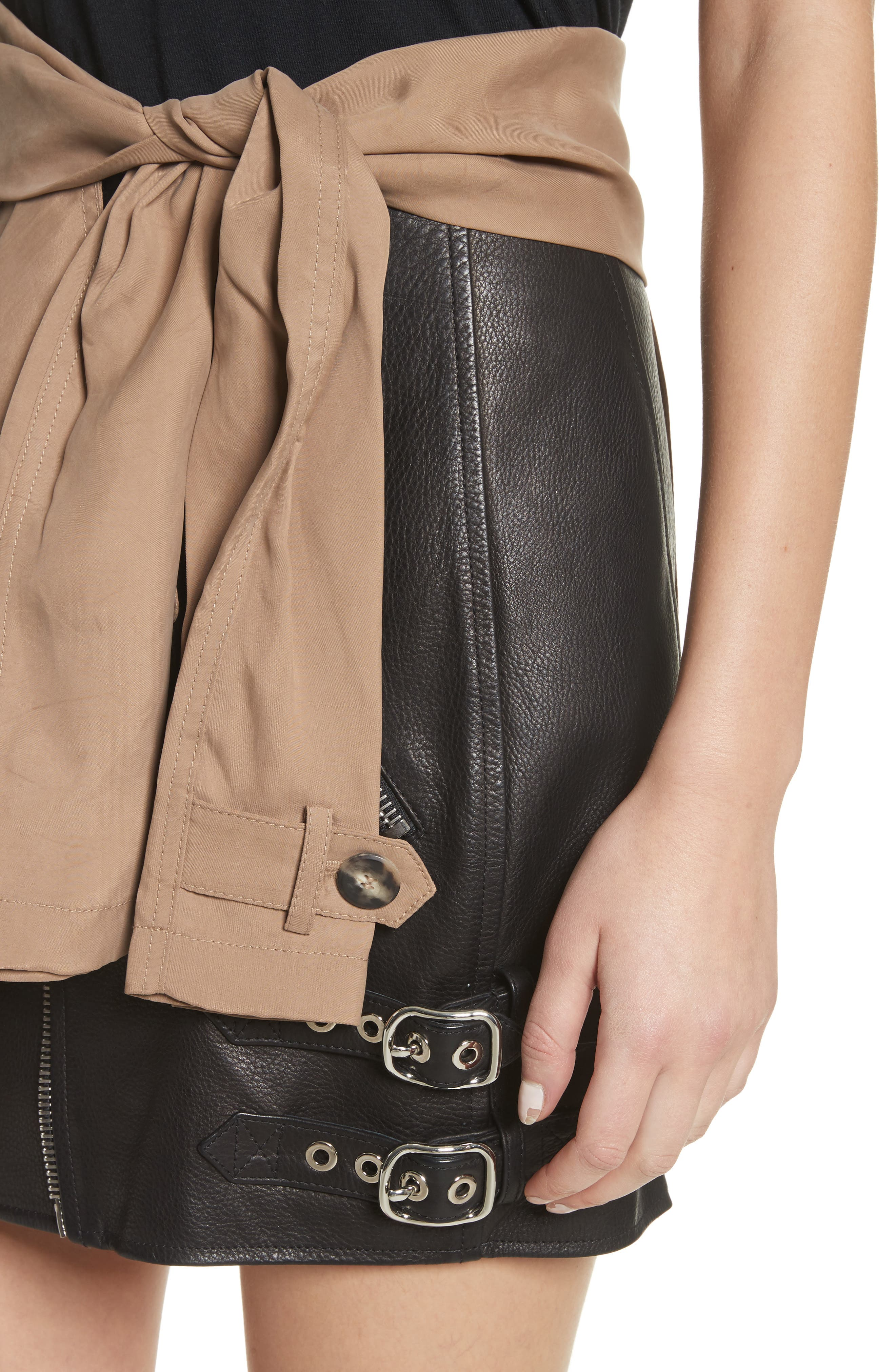 Trench Combo Leather Miniskirt,                             Alternate thumbnail 4, color,                             Sable