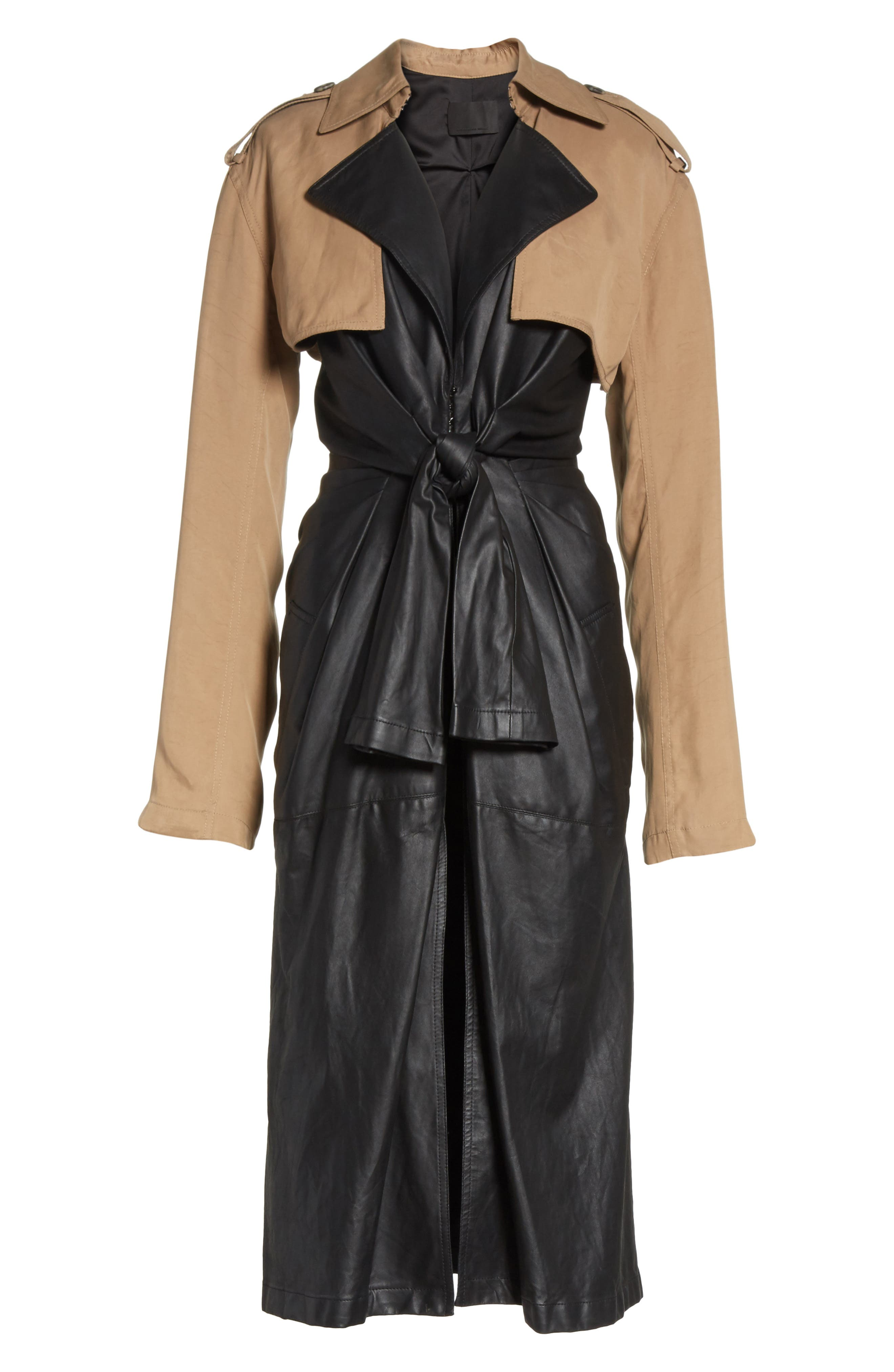 Tie Front Leather & Twill Trench Coat,                             Alternate thumbnail 6, color,                             Black
