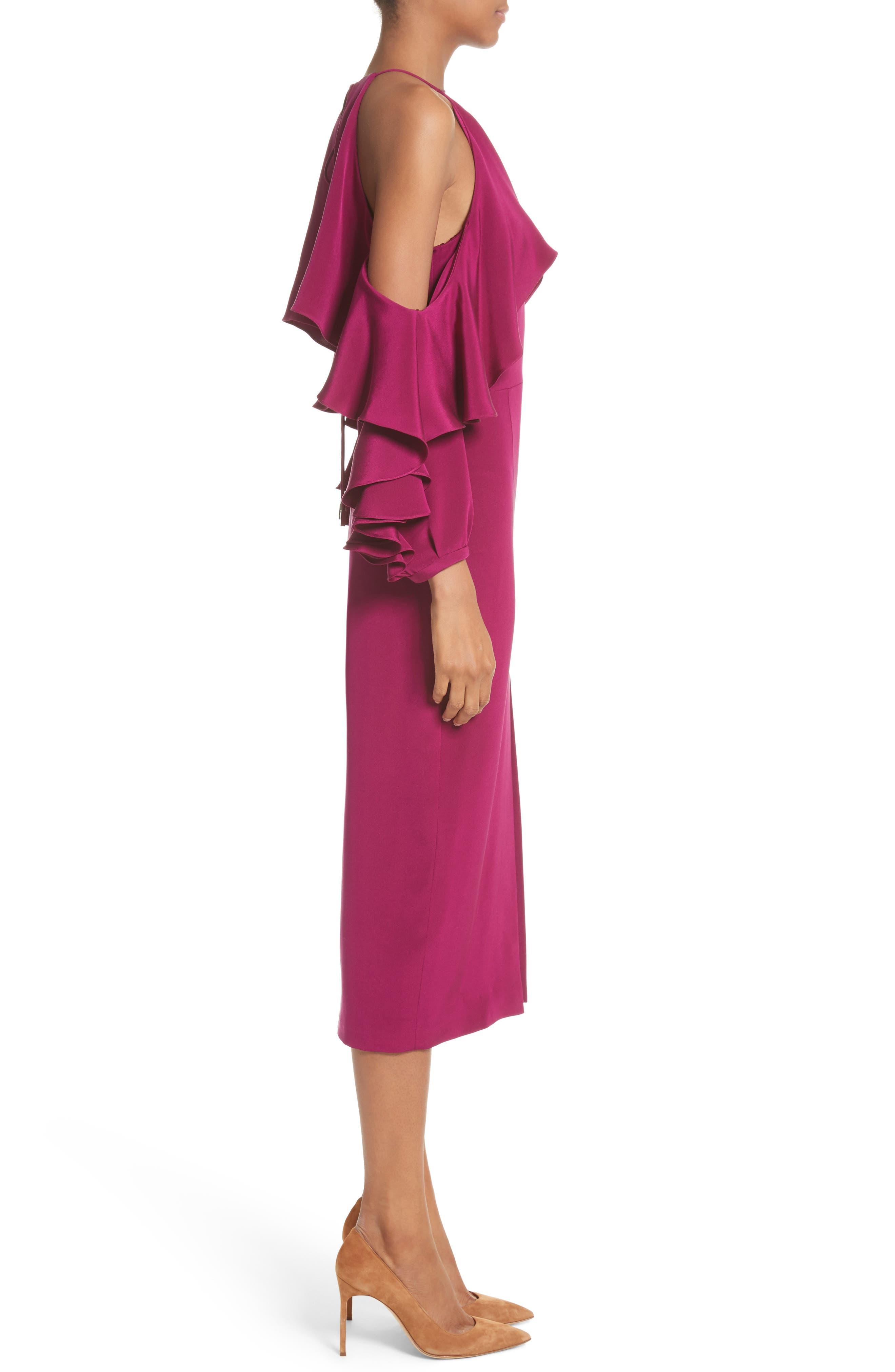 Cold Shoulder Ruffle Silk Sheath Dress,                             Alternate thumbnail 3, color,                             Dahlia