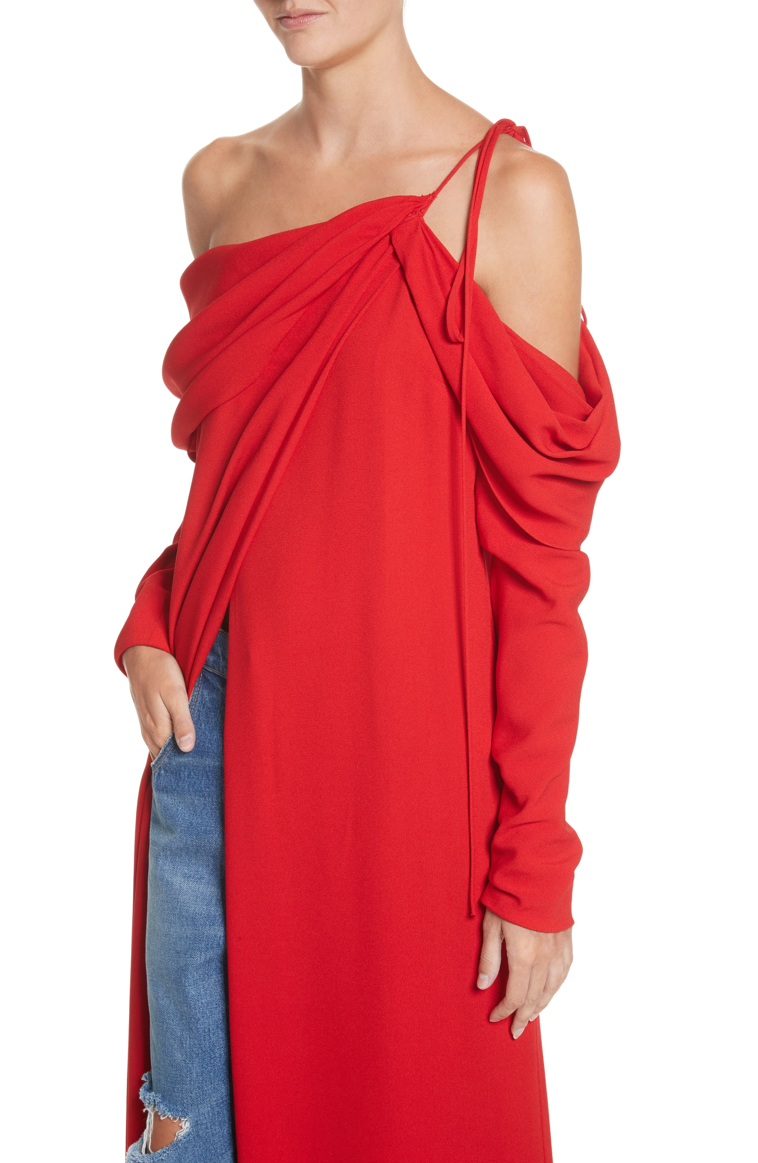 Cowl Sleeve Gown,                             Alternate thumbnail 5, color,                             Red