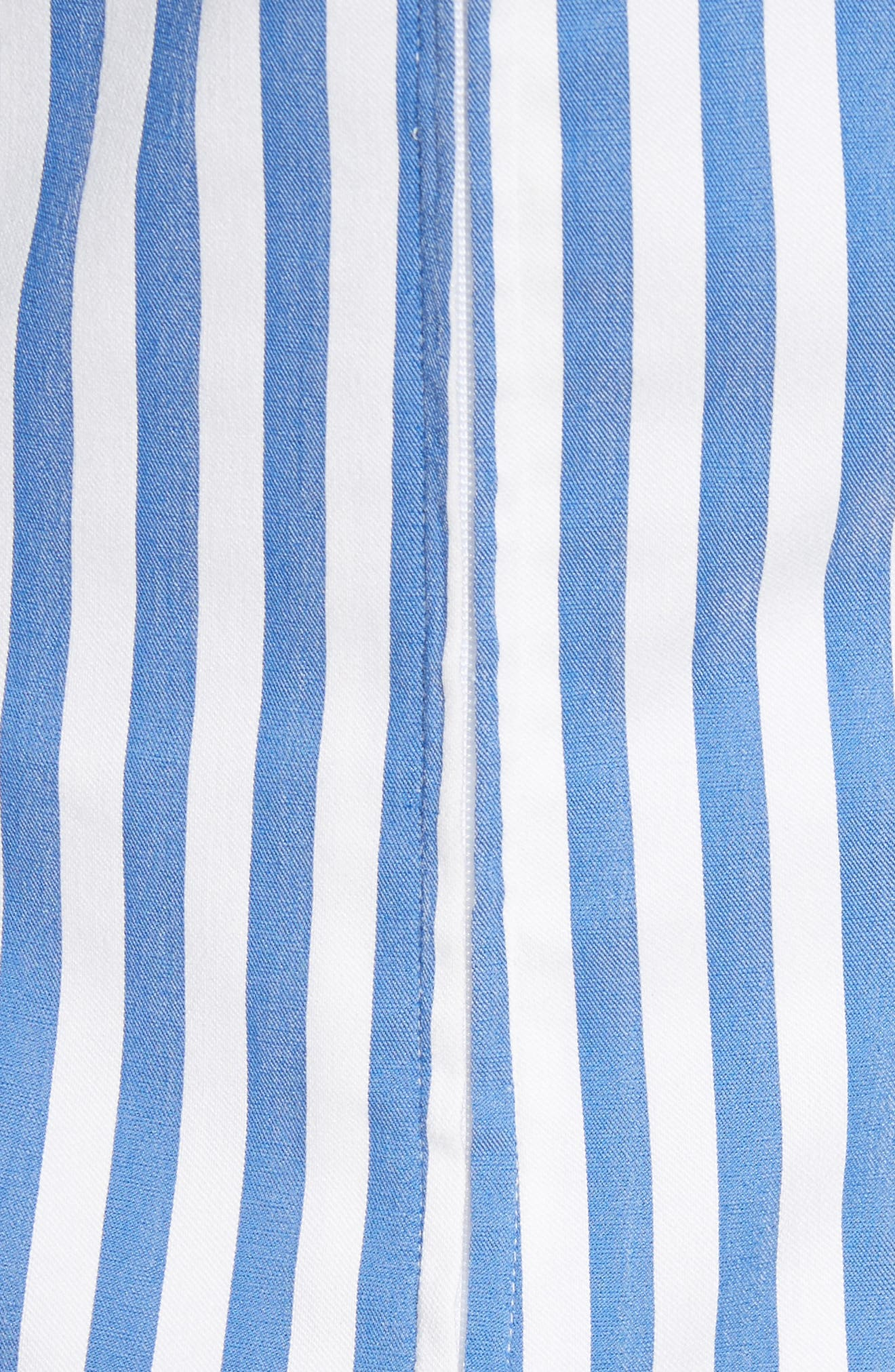 Stripe Poplin Cold Shoulder Top,                             Alternate thumbnail 5, color,                             Blue/ White