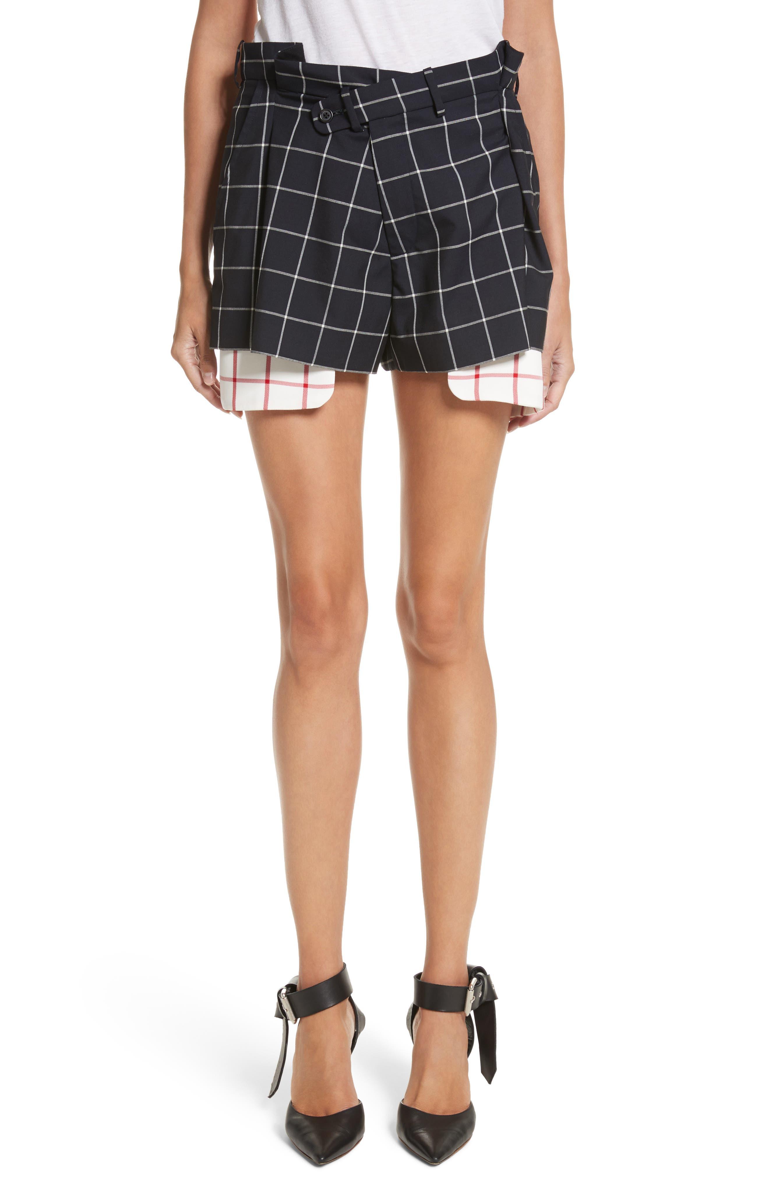MONSE Peekaboo Windowpane Plaid Wool Shorts