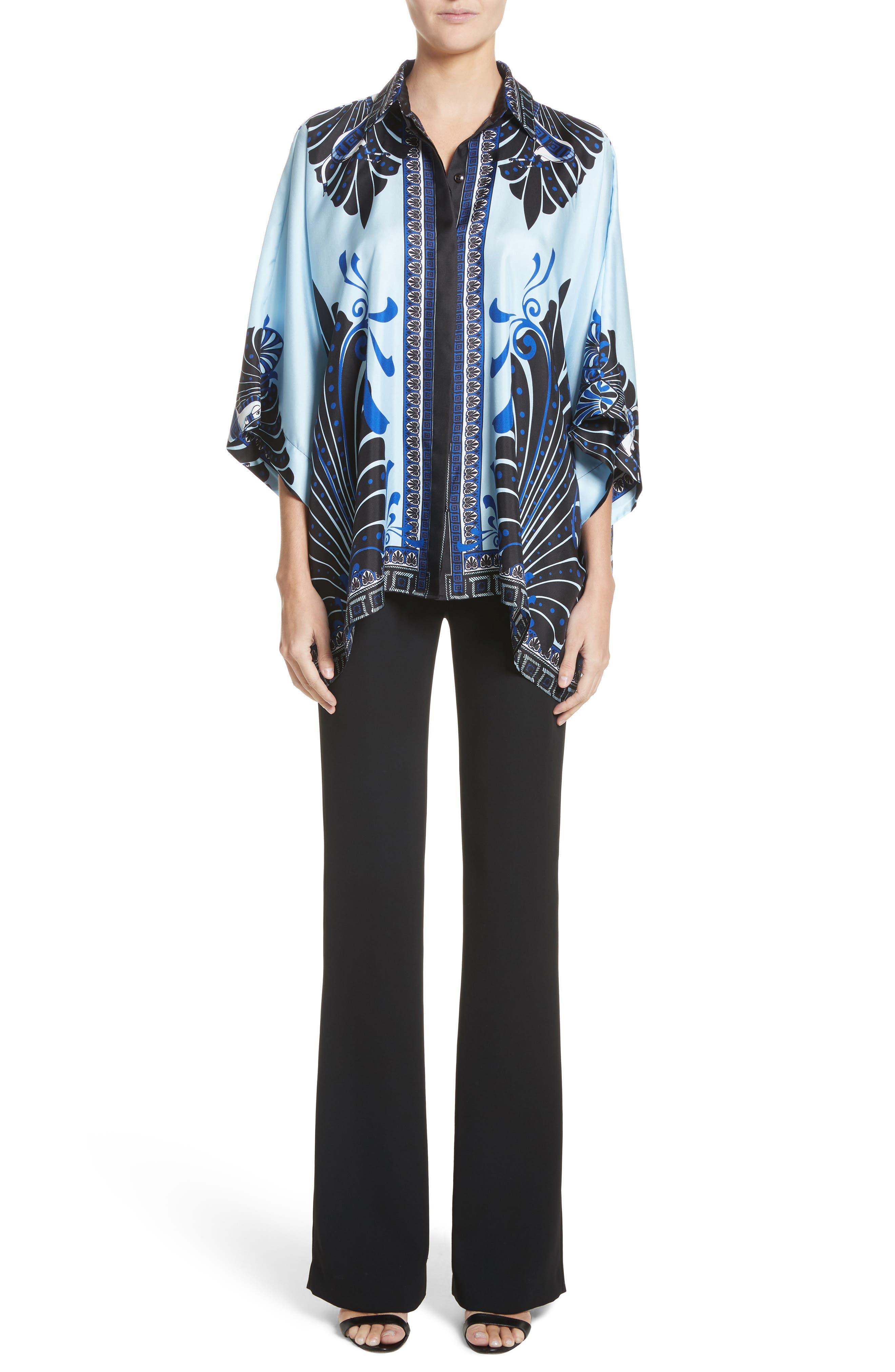 Eros Wide Sleeve Silk Shirt,                             Alternate thumbnail 7, color,                             Light Blue/ Print