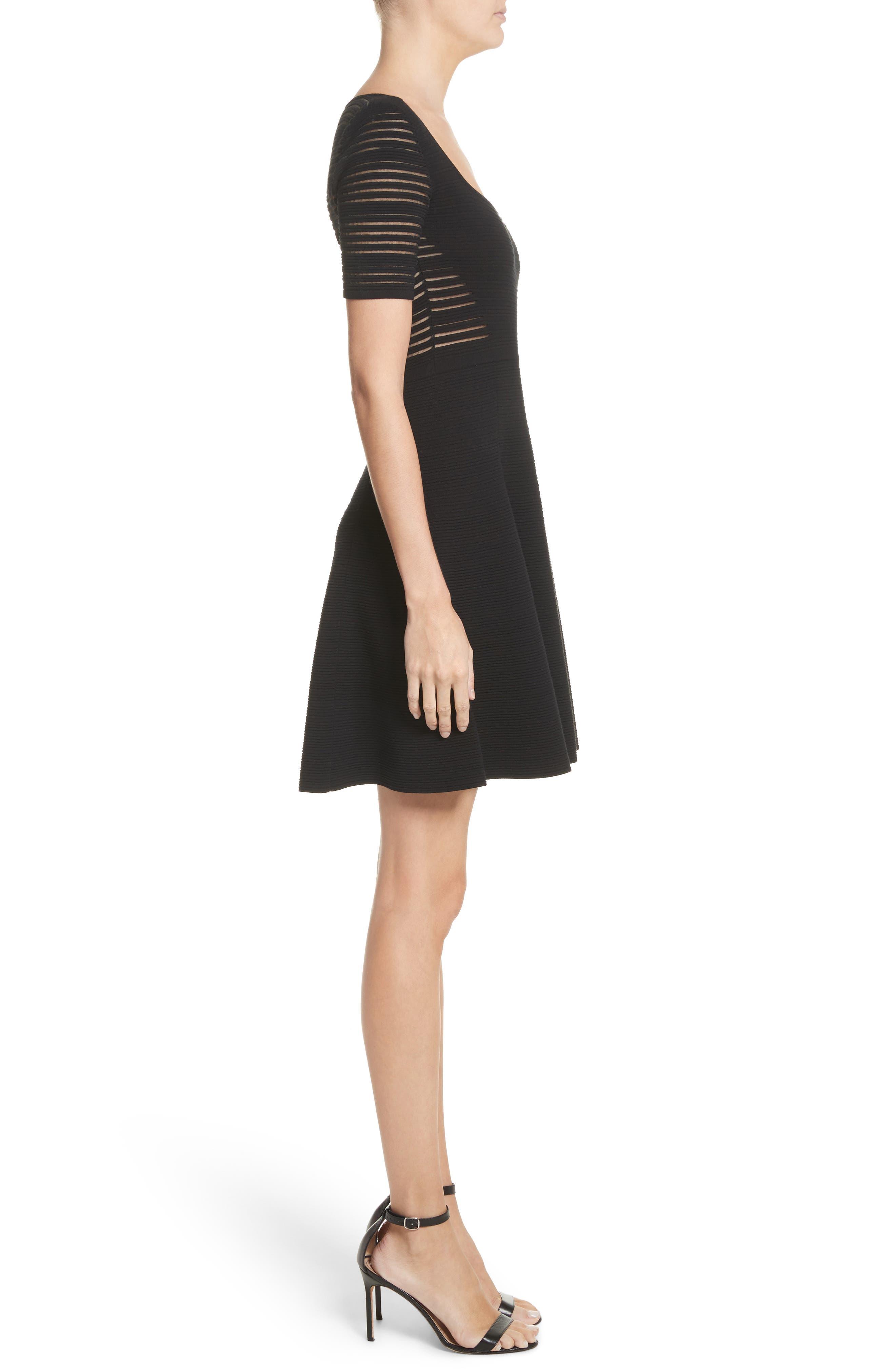 Stripe Knit A-Line Dress,                             Alternate thumbnail 3, color,                             Black