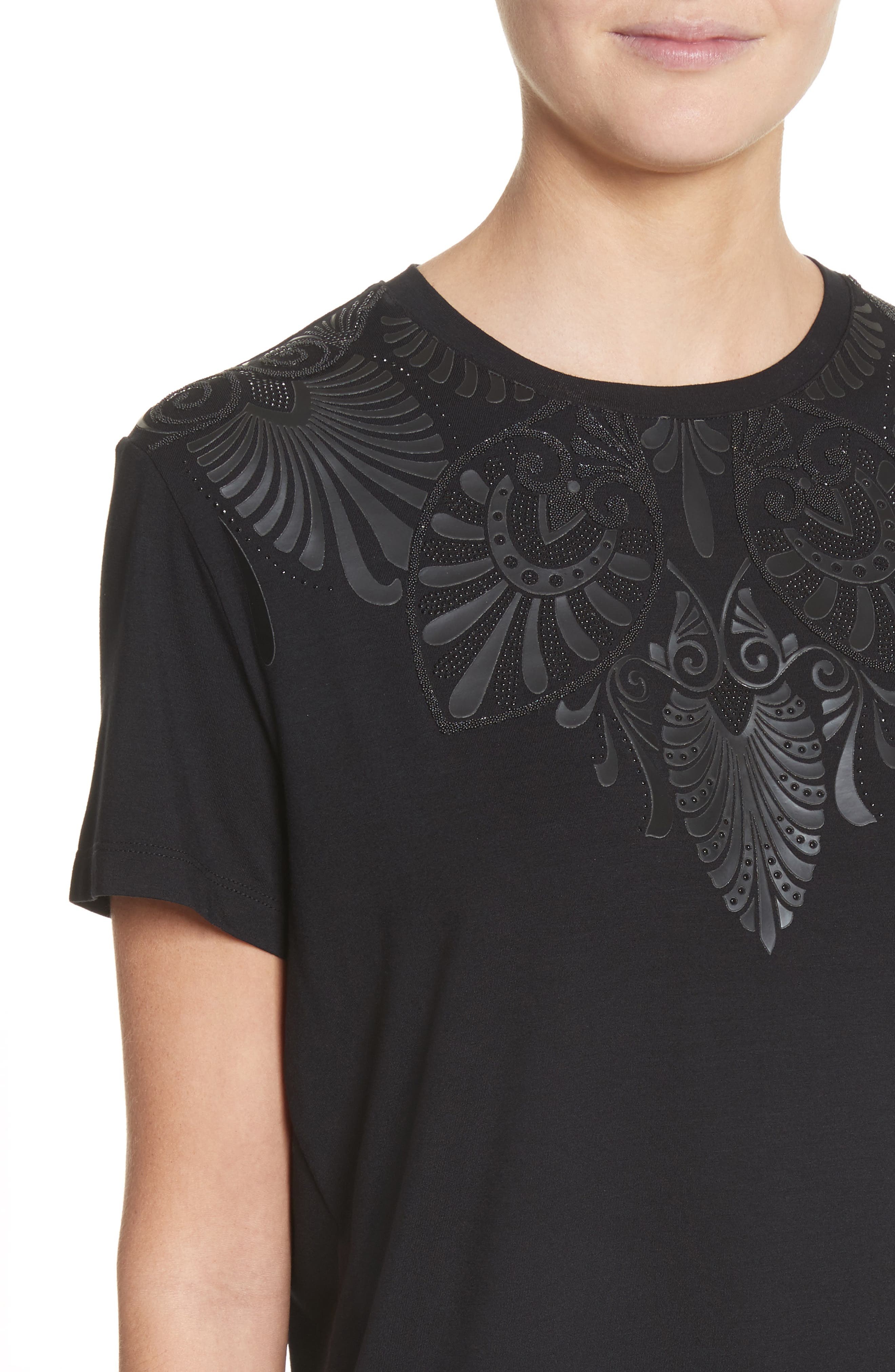 Beaded Jersey Tee,                             Alternate thumbnail 4, color,                             Black