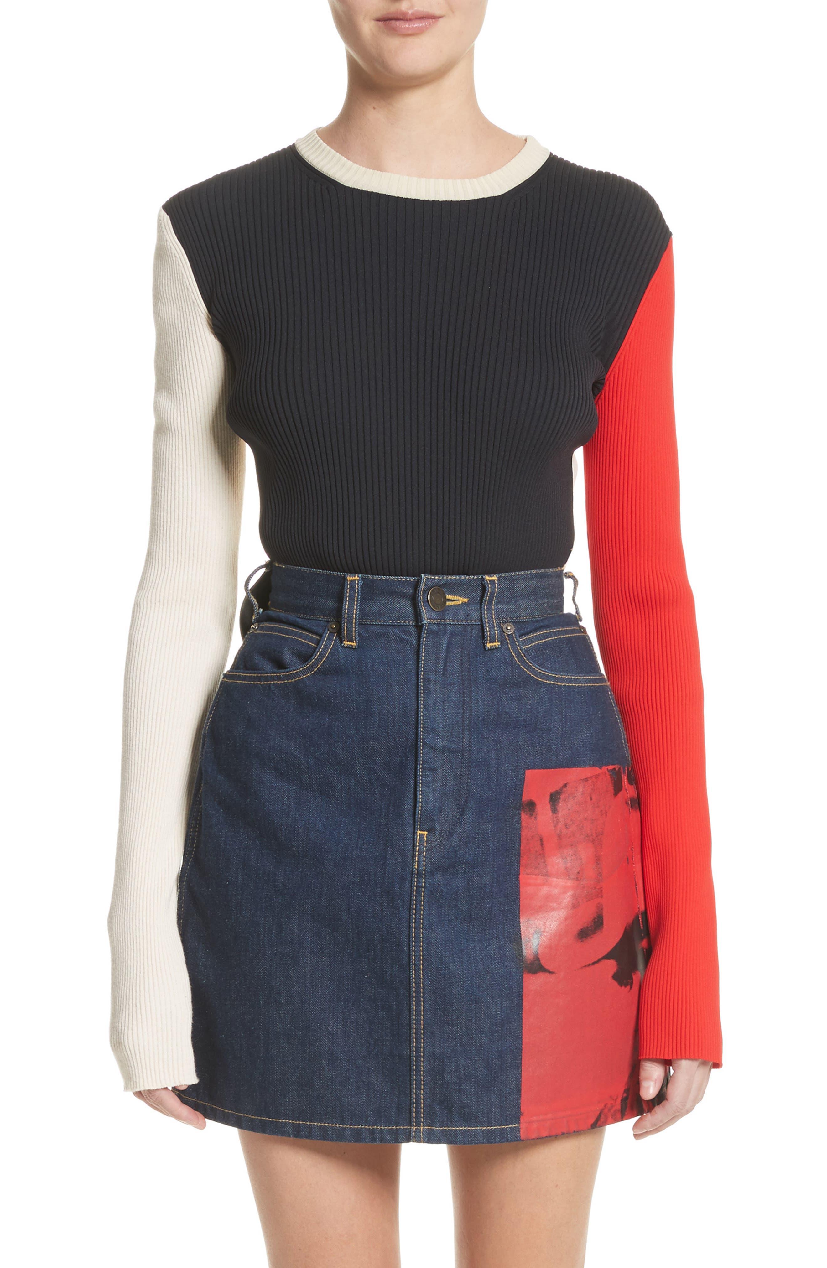 Colorblock Logo Knit Top,                         Main,                         color, Black/ Ecru/ Red