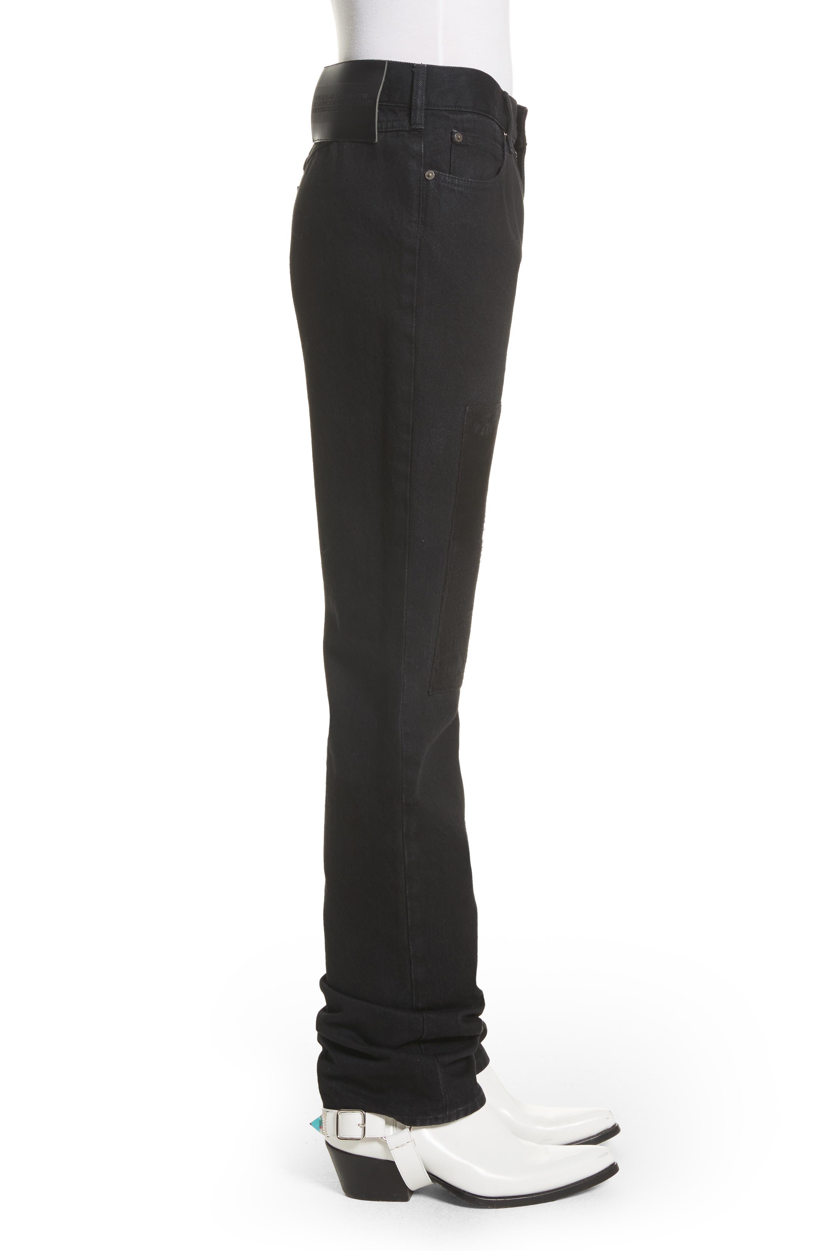 Silk Knee Patch Straight Leg Jeans,                             Alternate thumbnail 4, color,                             Black