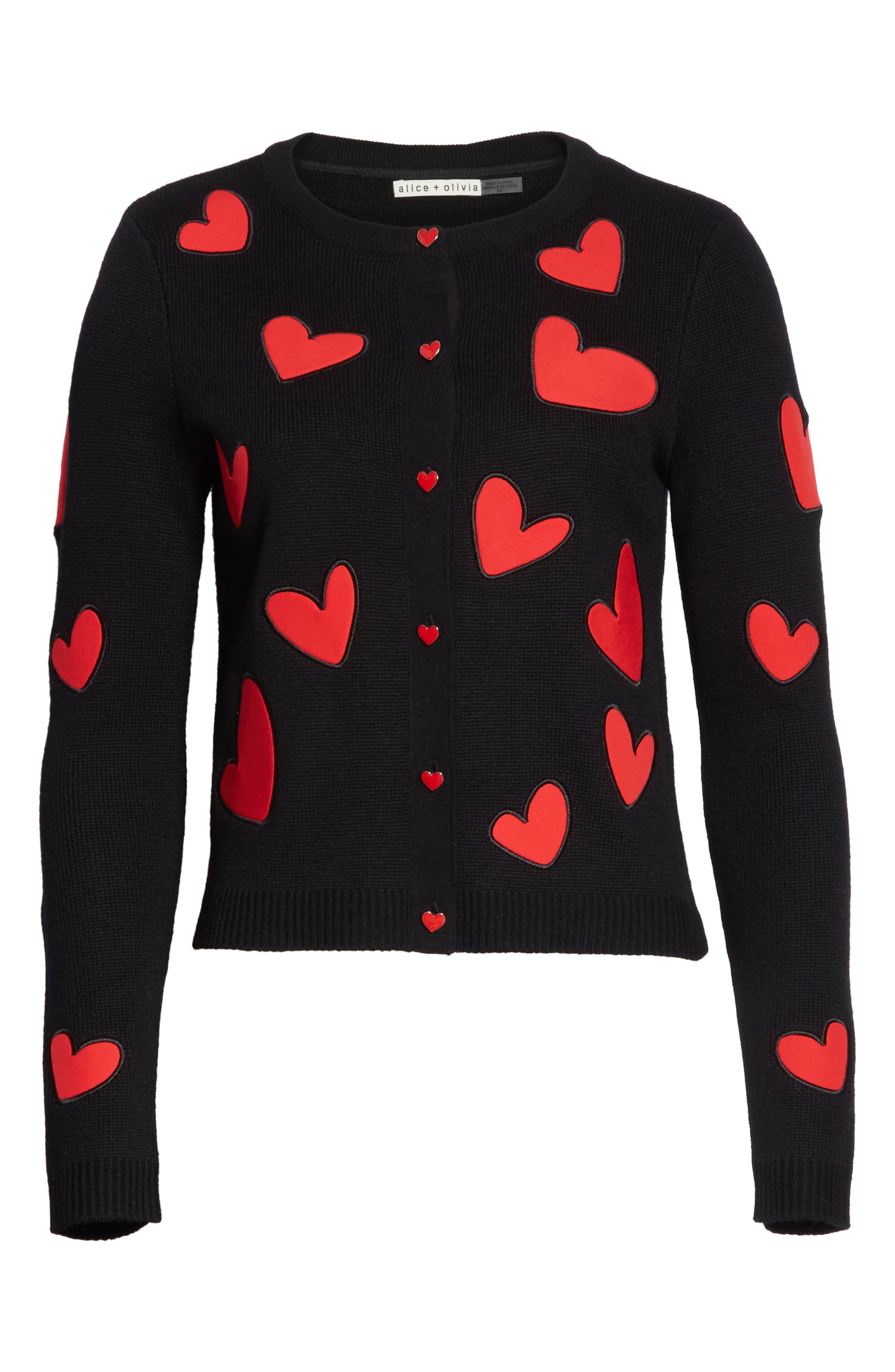 Ruthy Heart Appliqué Cardigan,                             Alternate thumbnail 6, color,                             Black/ Apple