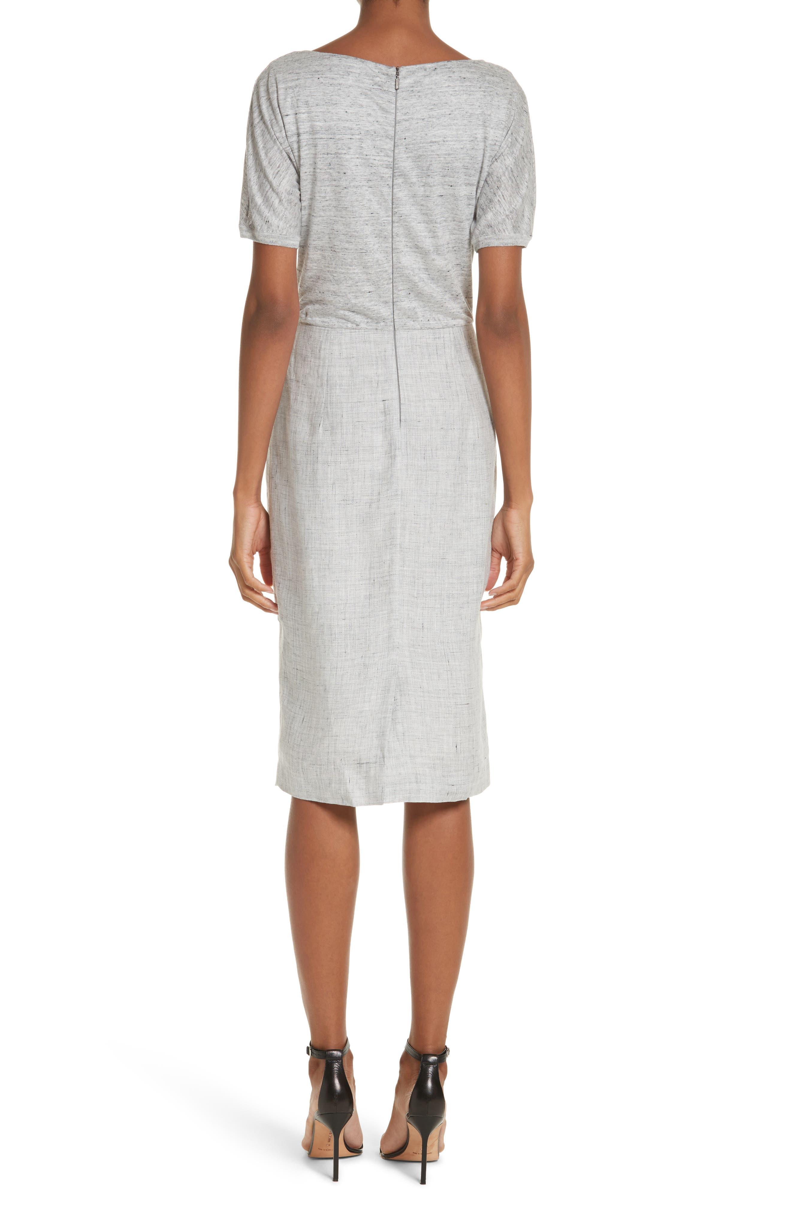 Laura Cowl Neck Linen Dress,                             Alternate thumbnail 2, color,                             Light Grey
