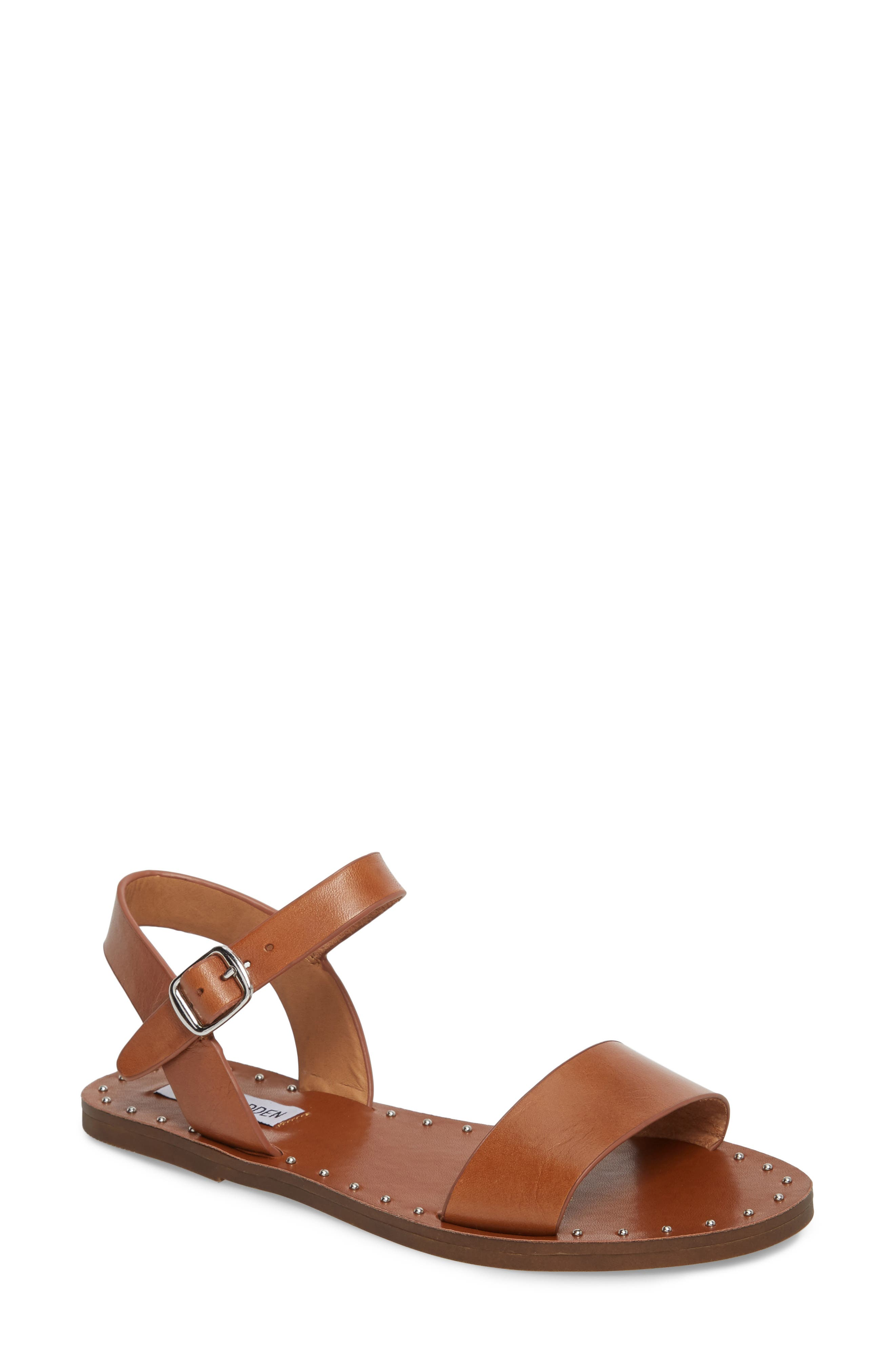 Dupe Sandal,                         Main,                         color, Cognac Leather
