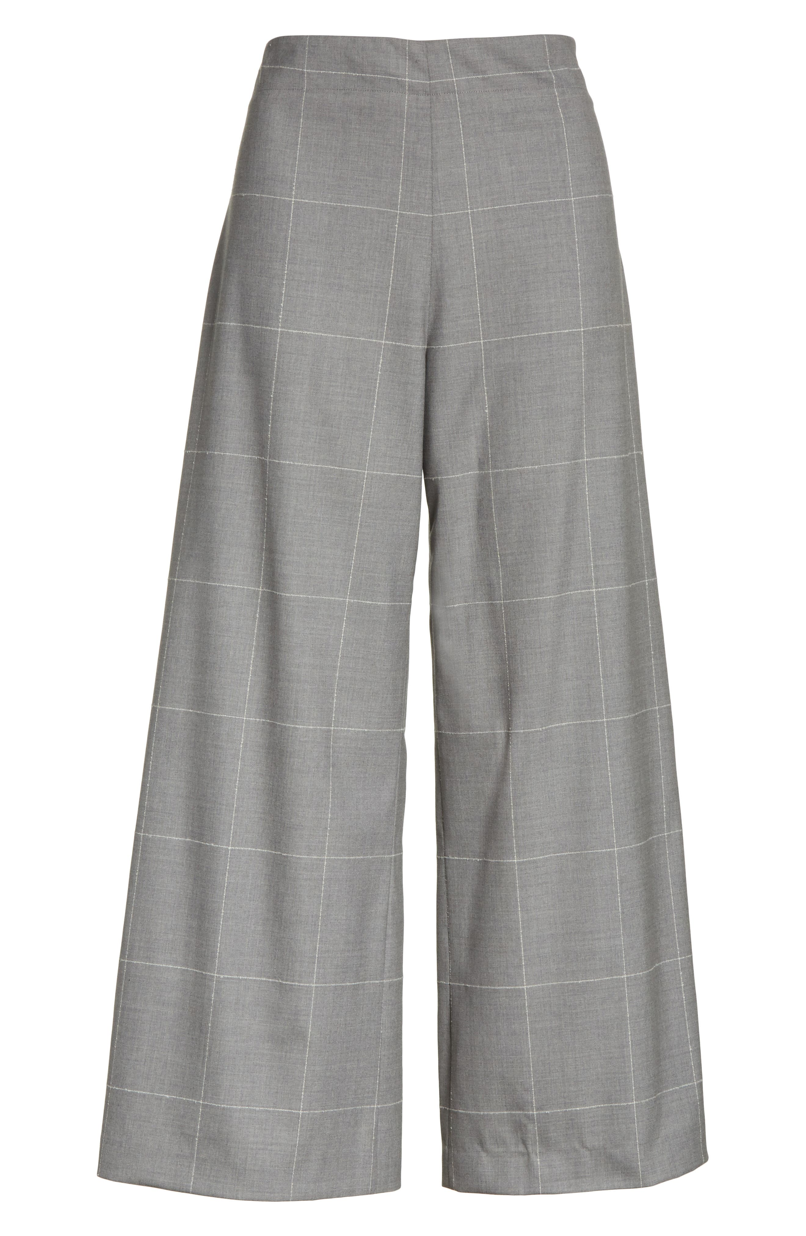 Windowpane Check Wool Wide Leg Crop Pants,                             Alternate thumbnail 7, color,                             Grey/ Ivory