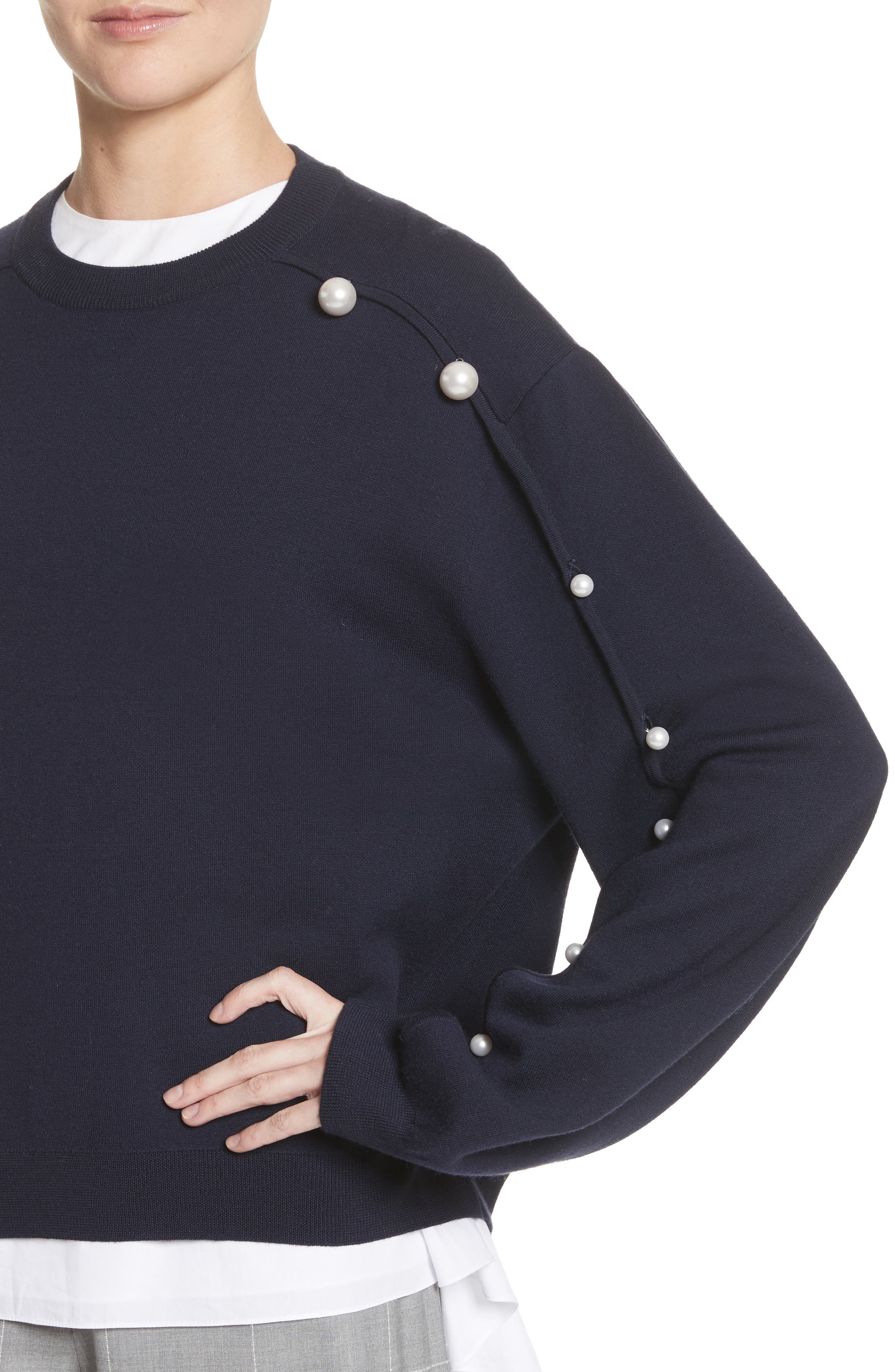 Imitation Pearl Sleeve Merino Wool Sweater,                             Alternate thumbnail 4, color,                             Navy/ Black