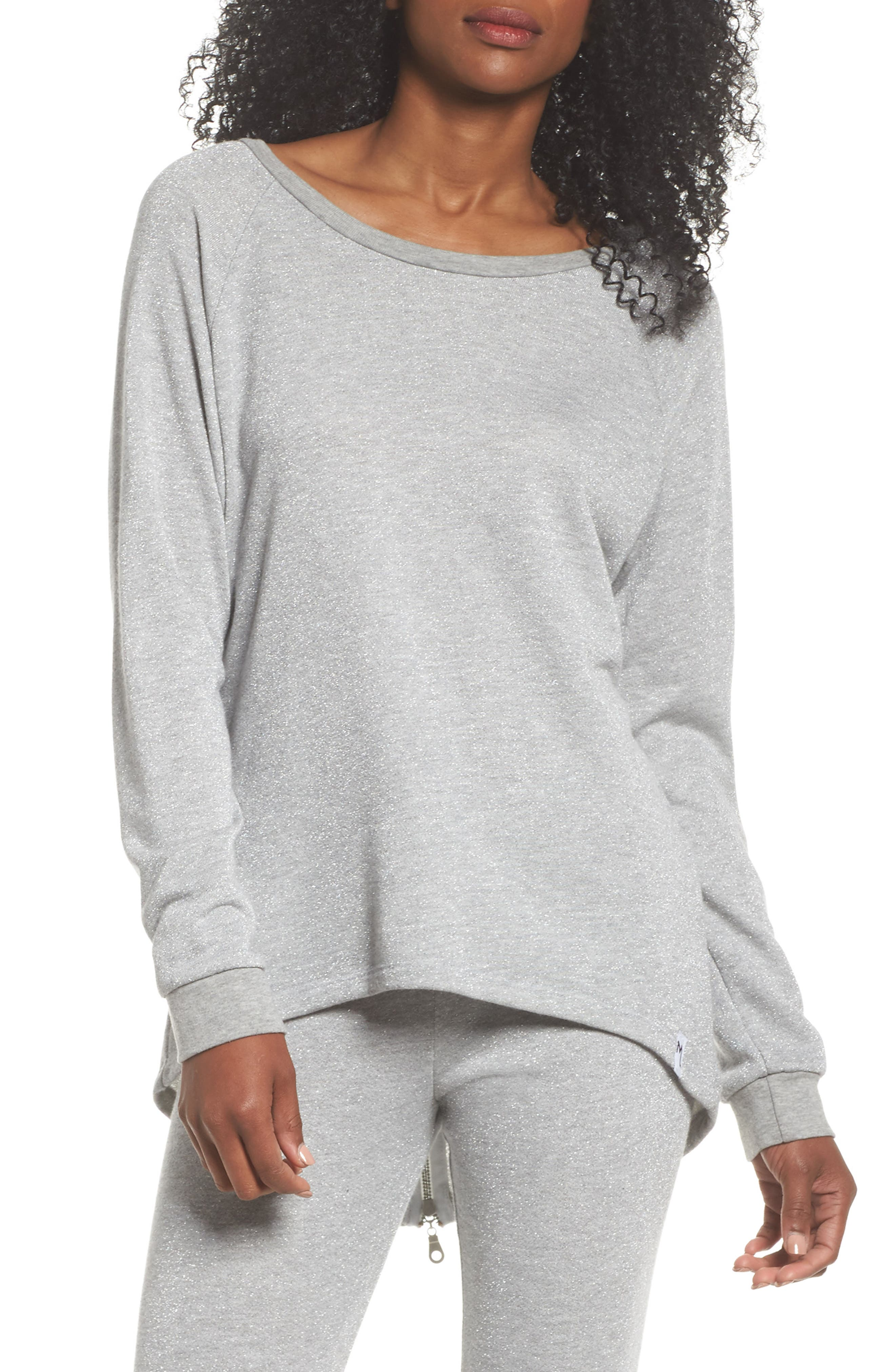 Louie Metallic High/Low Pullover,                             Main thumbnail 1, color,                             Heather Grey