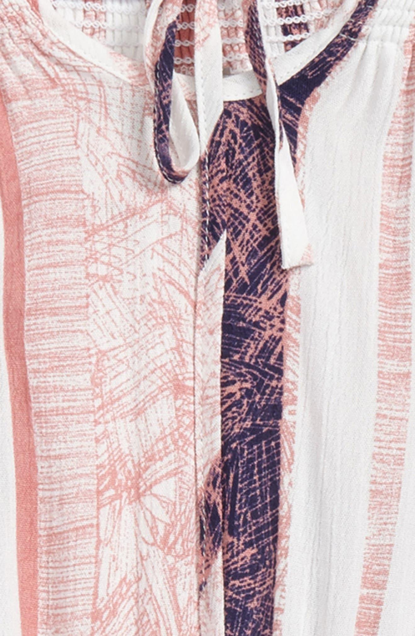 Stripe Off the Shoulder Romper,                             Alternate thumbnail 2, color,                             Pink Multi