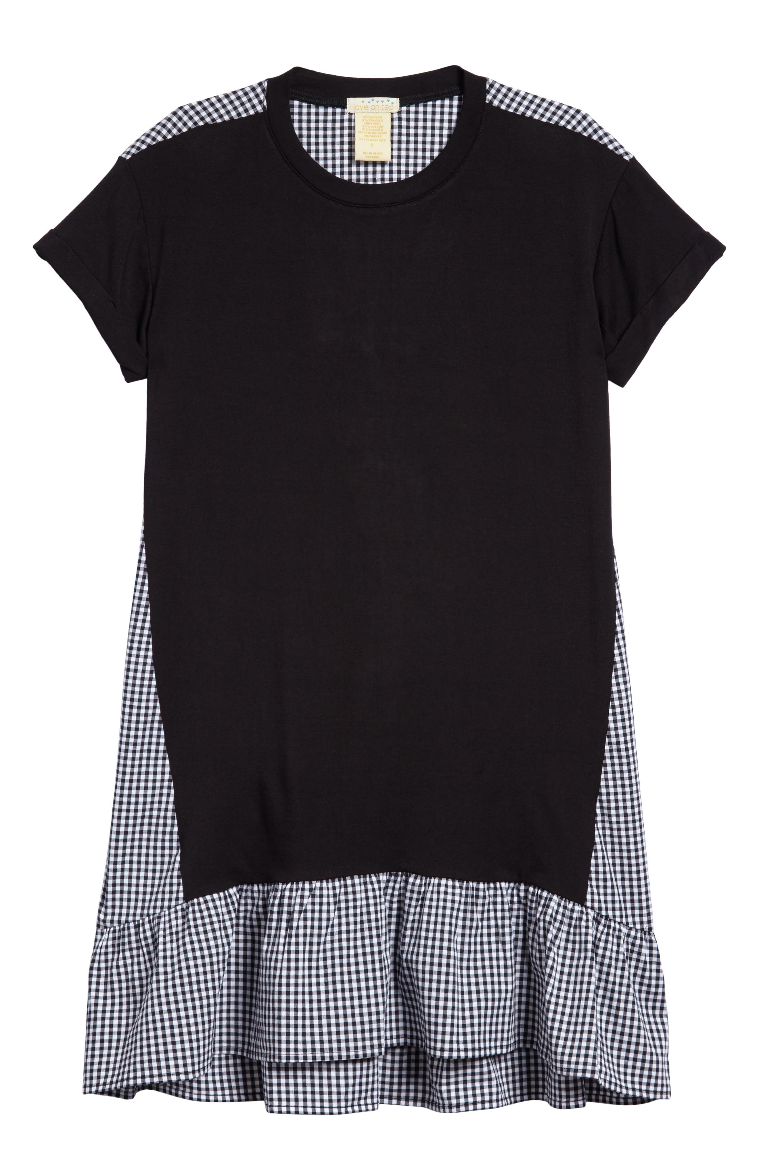 T-Shirt Dress,                             Main thumbnail 1, color,                             Blk/ White