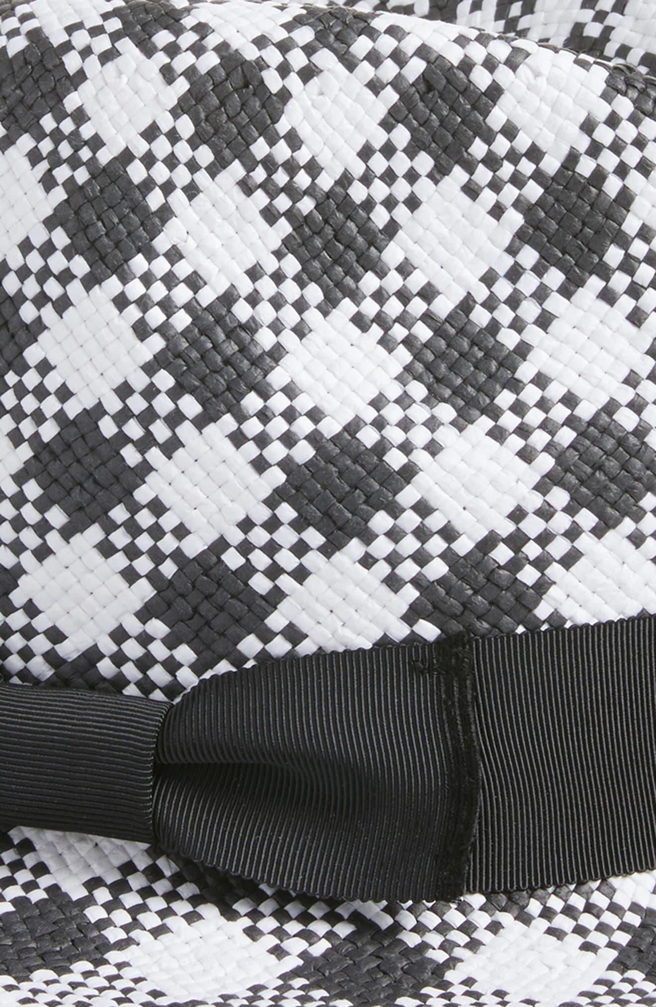 gingham trilby,                             Alternate thumbnail 2, color,                             Black/ Fresh White