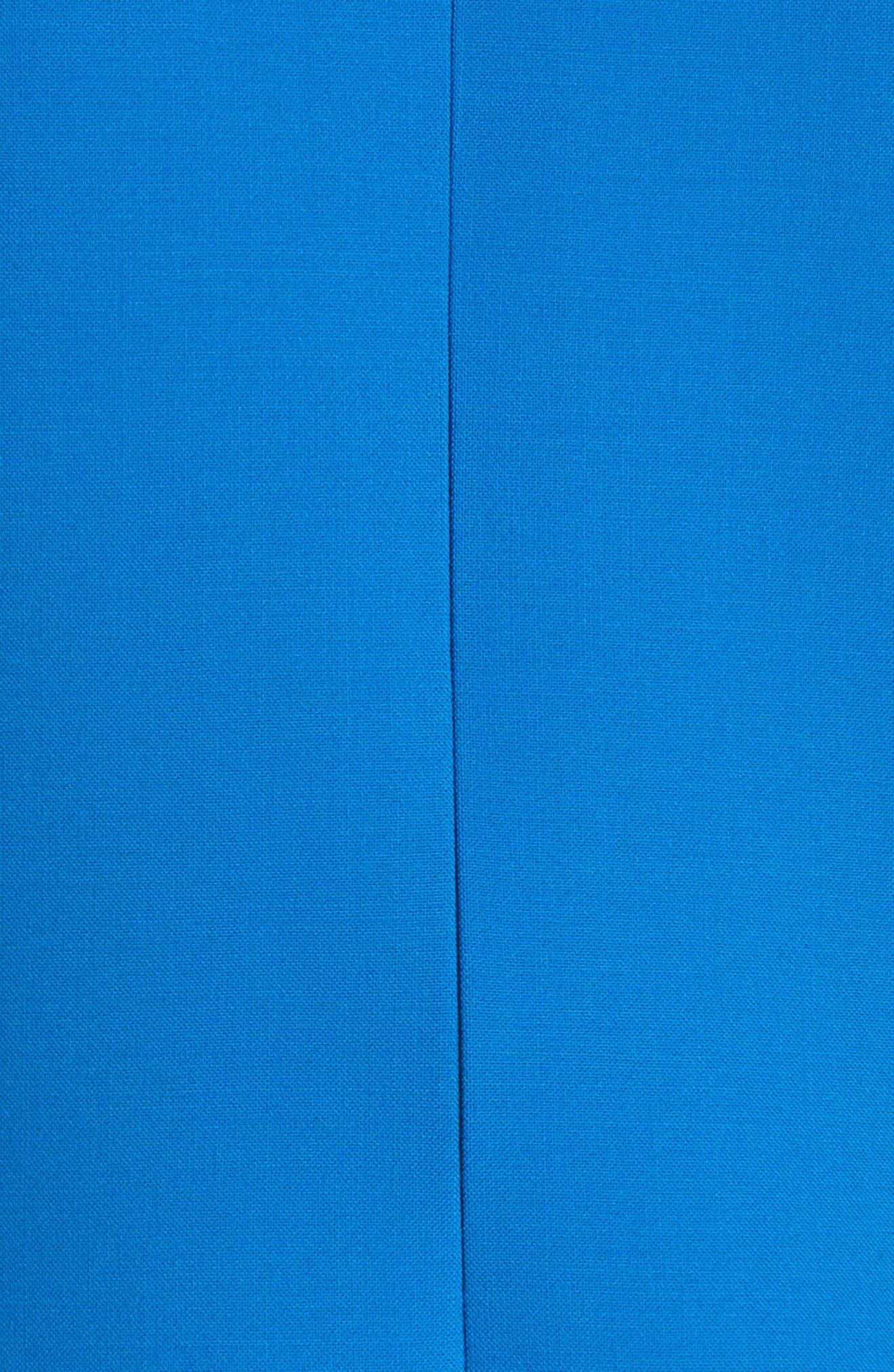 Flutter Hem Wool Blend Sheath Dress,                             Alternate thumbnail 6, color,                             Cobalt