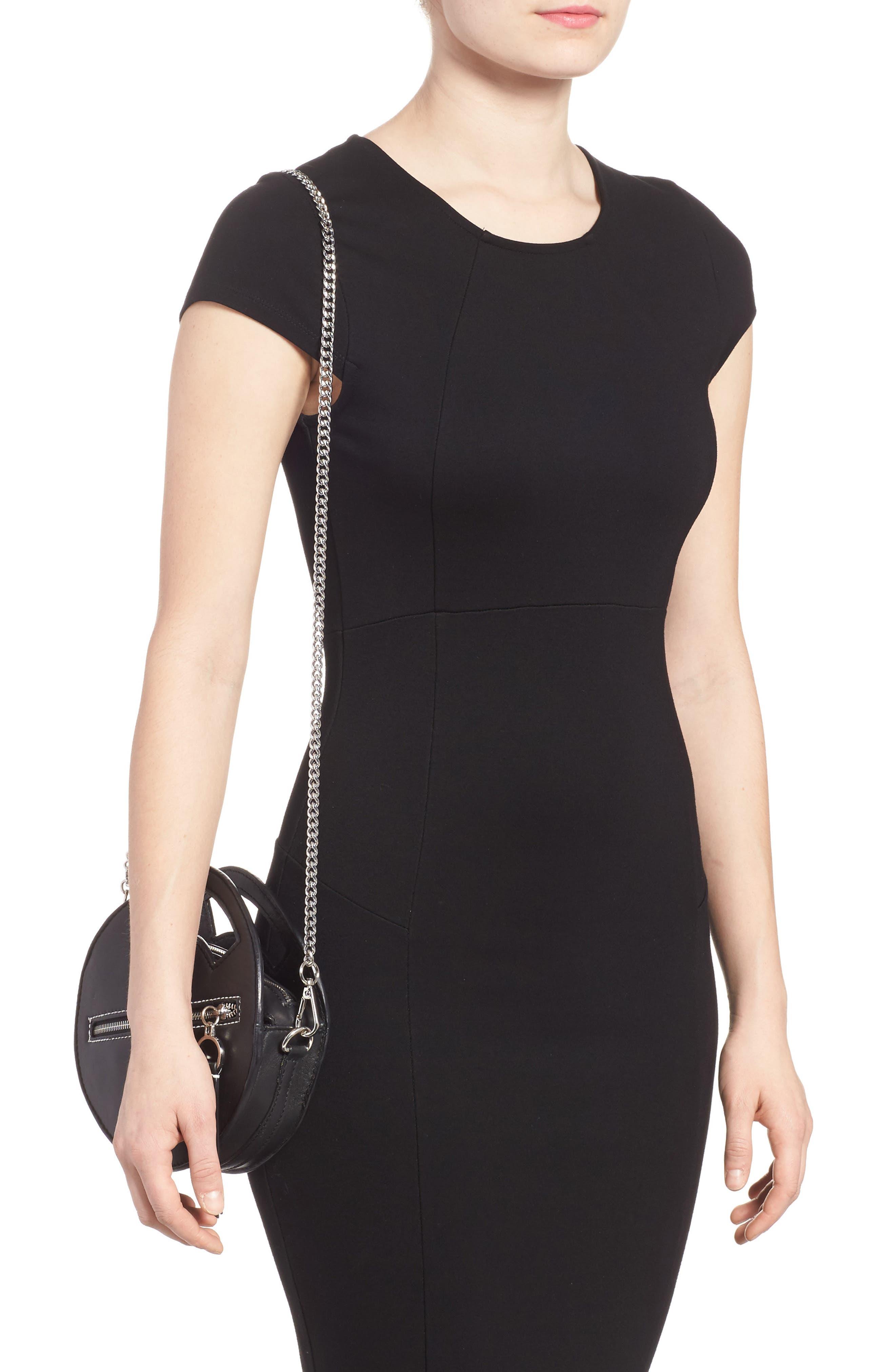 Premium Leather Mini Circle Crossbody Bag,                             Alternate thumbnail 2, color,                             Black