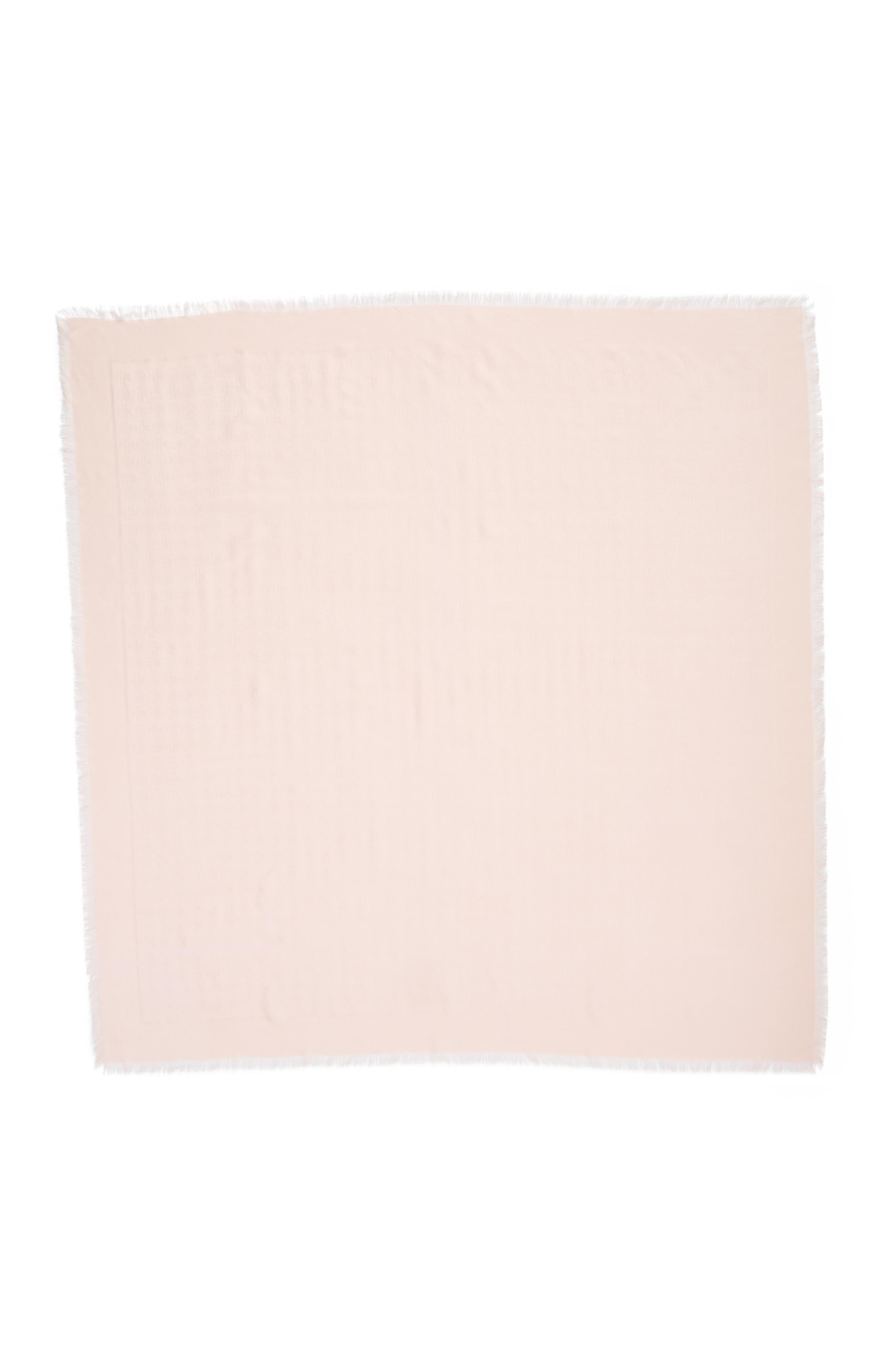Traveler Logo Jacquard Wool & Silk Scarf,                             Alternate thumbnail 3, color,                             Ballet Pink